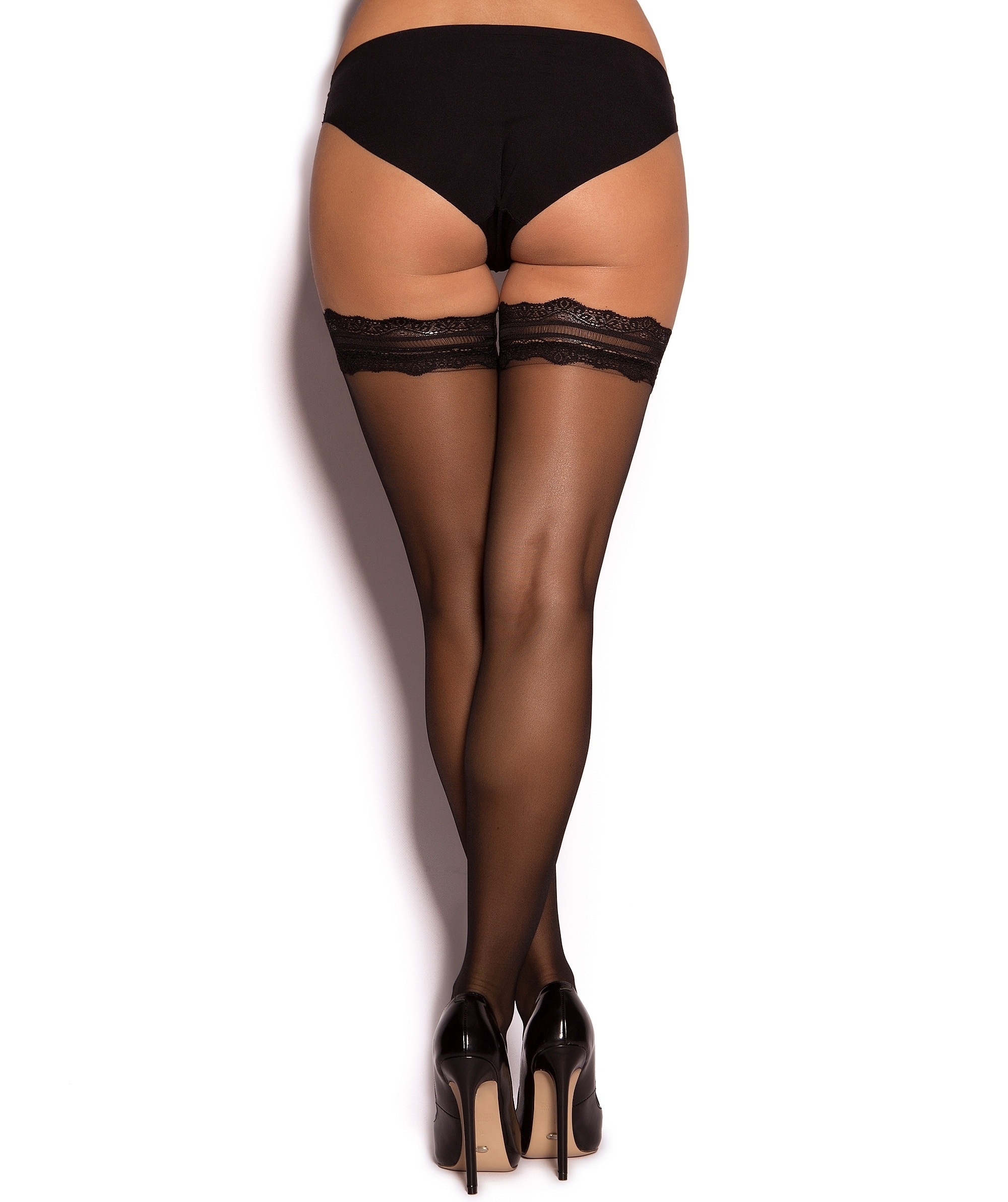 Lace Top Stay Up Stockings - Black