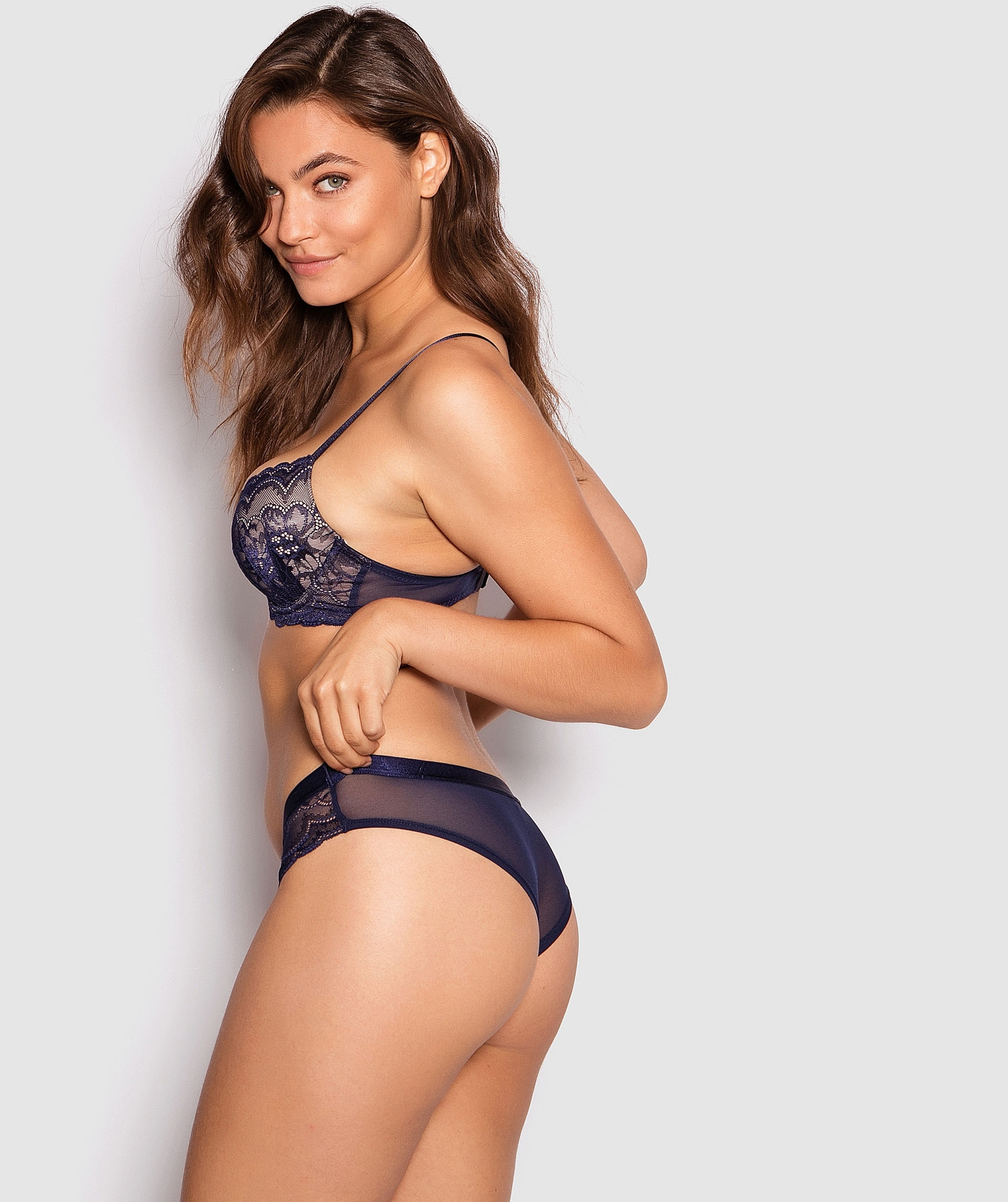 Posie Lace Brazilian Knicker - Navy