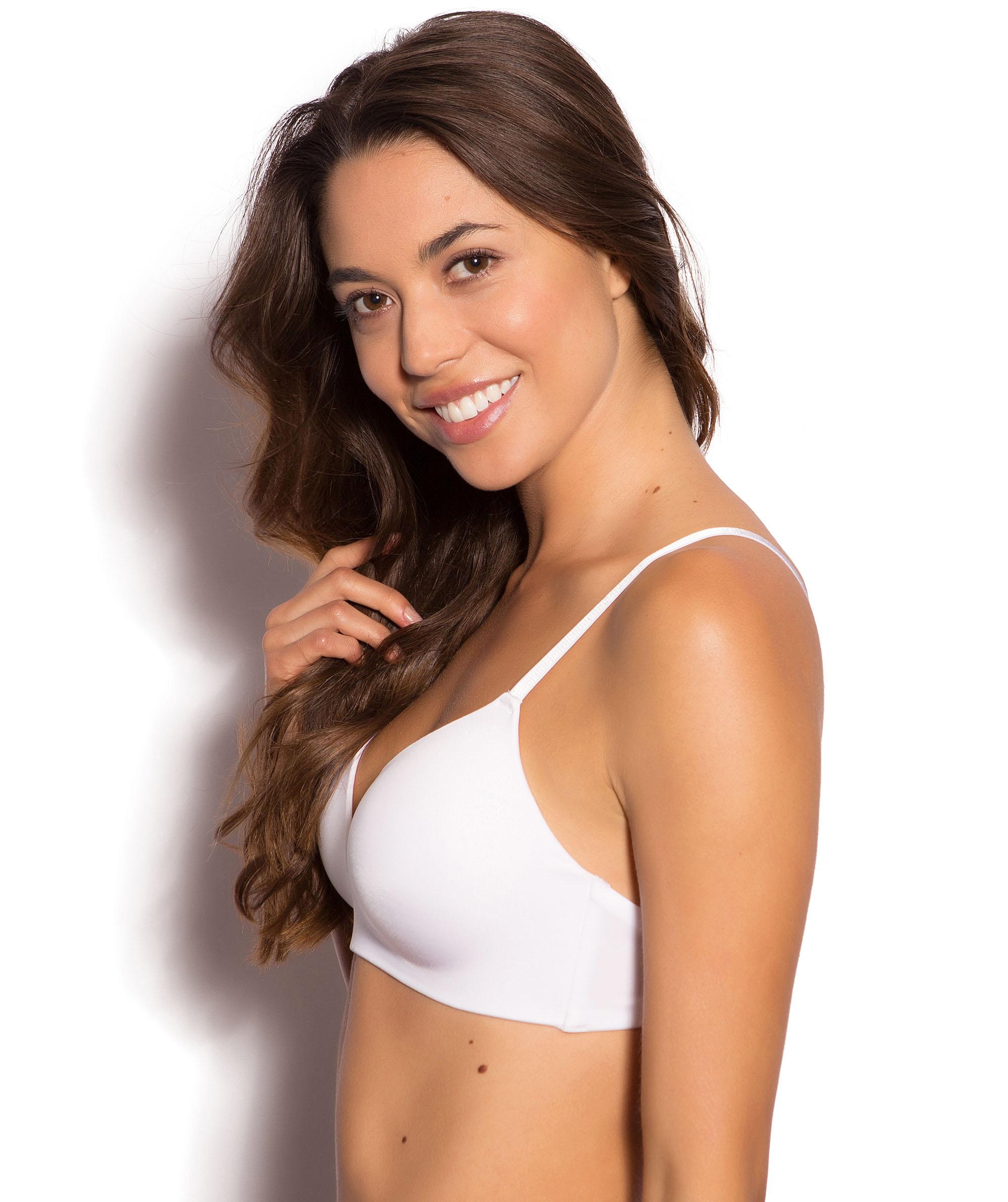 Jewel Wirefree Contour Bra - White/Nude