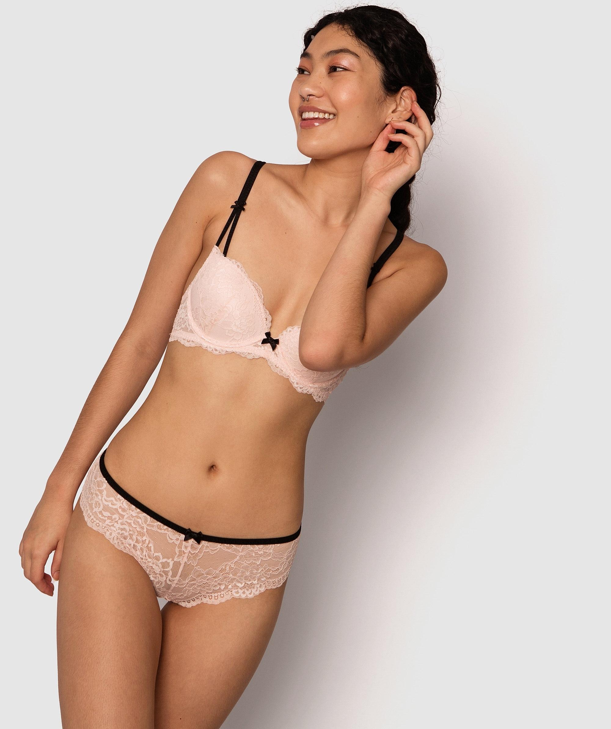 Paloma Brazilian Knicker - Light Pink/Black