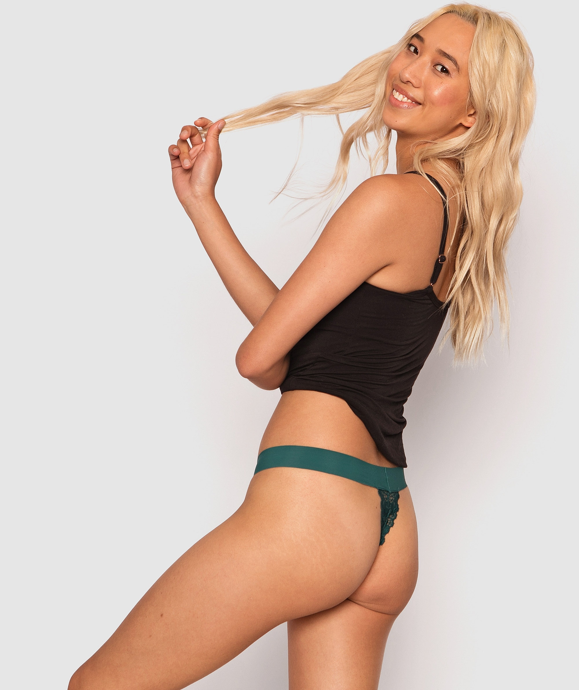 Chania V String Knicker - Dark Green