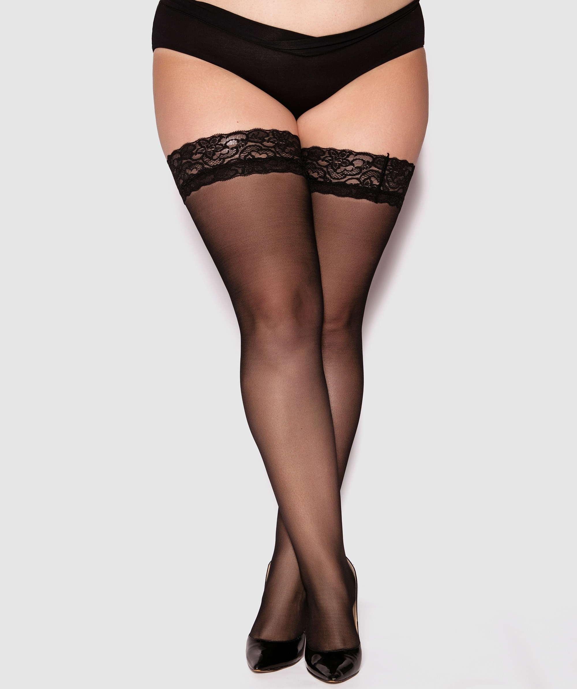 Curvy Lace Top Stay Up Stockings - Black