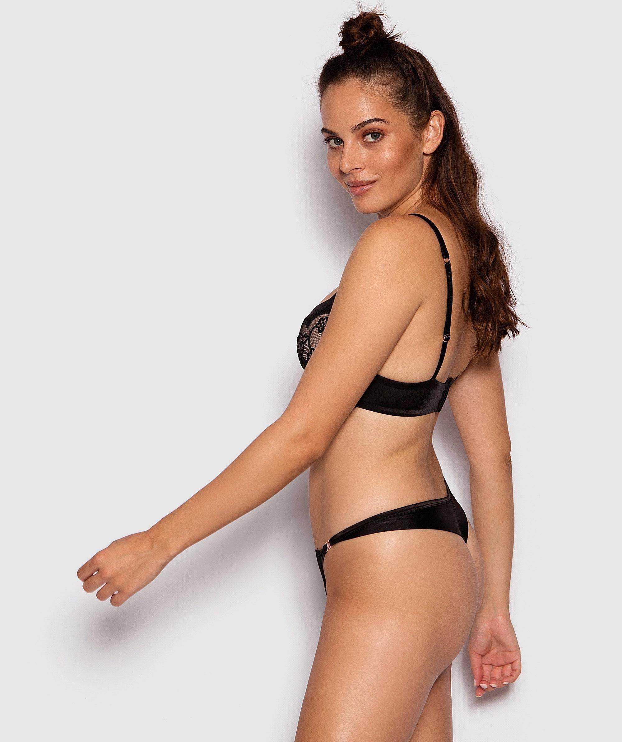 Fashion X Comfort V-String Knicker - Black/Nude