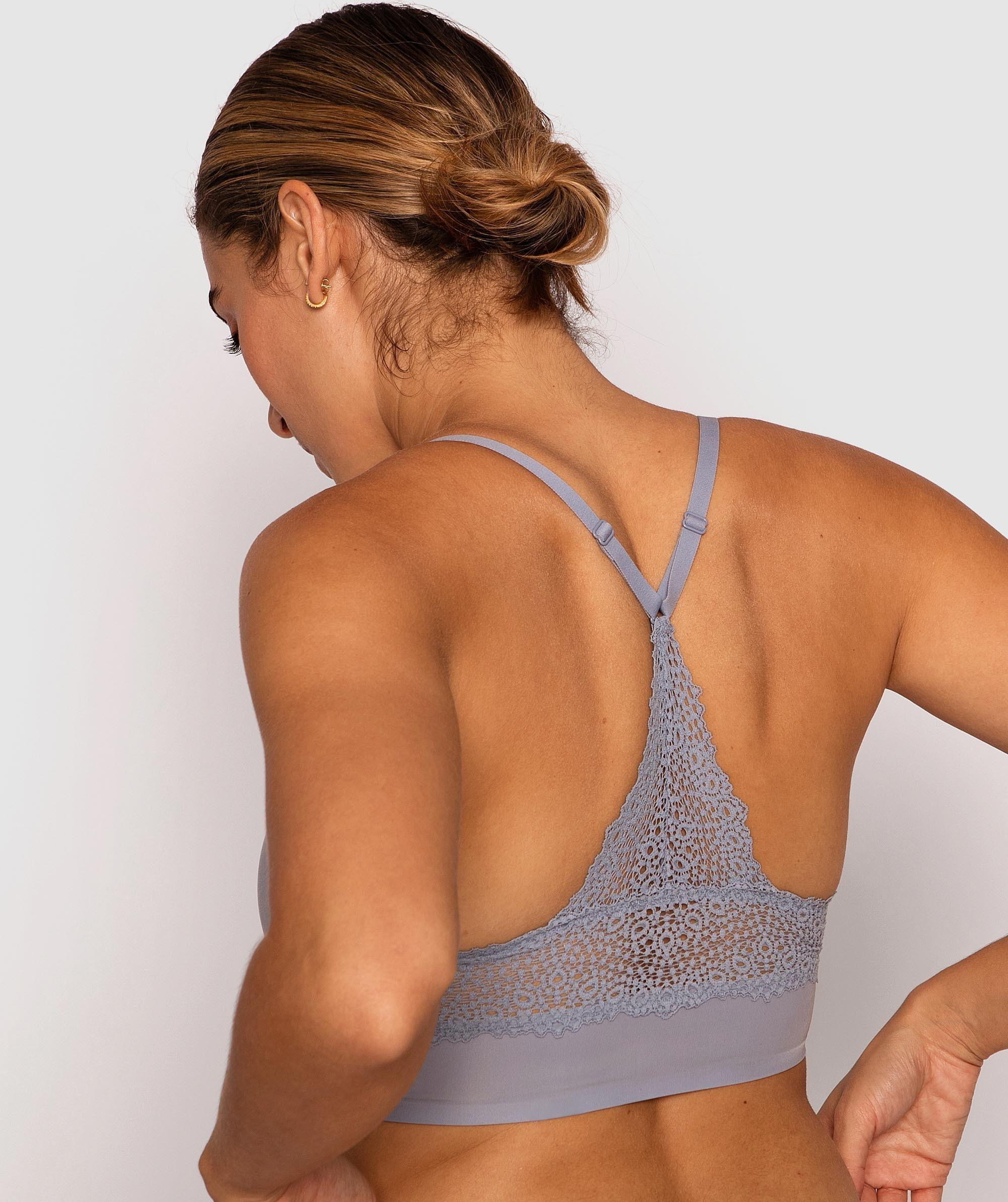 Modern Comfort Lace Back Bralette - Blue