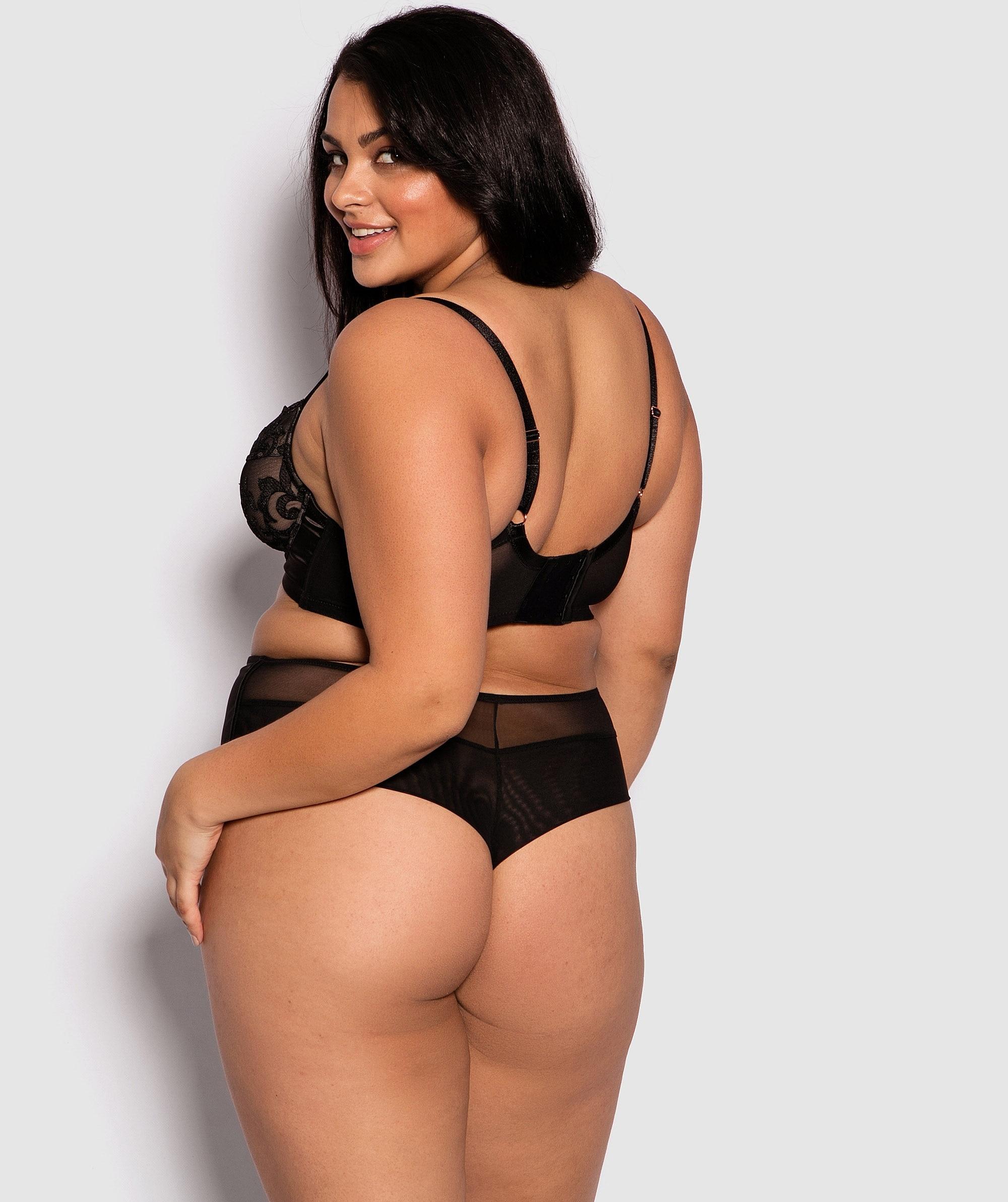 Della High Waist V String Knicker - Black/Nude