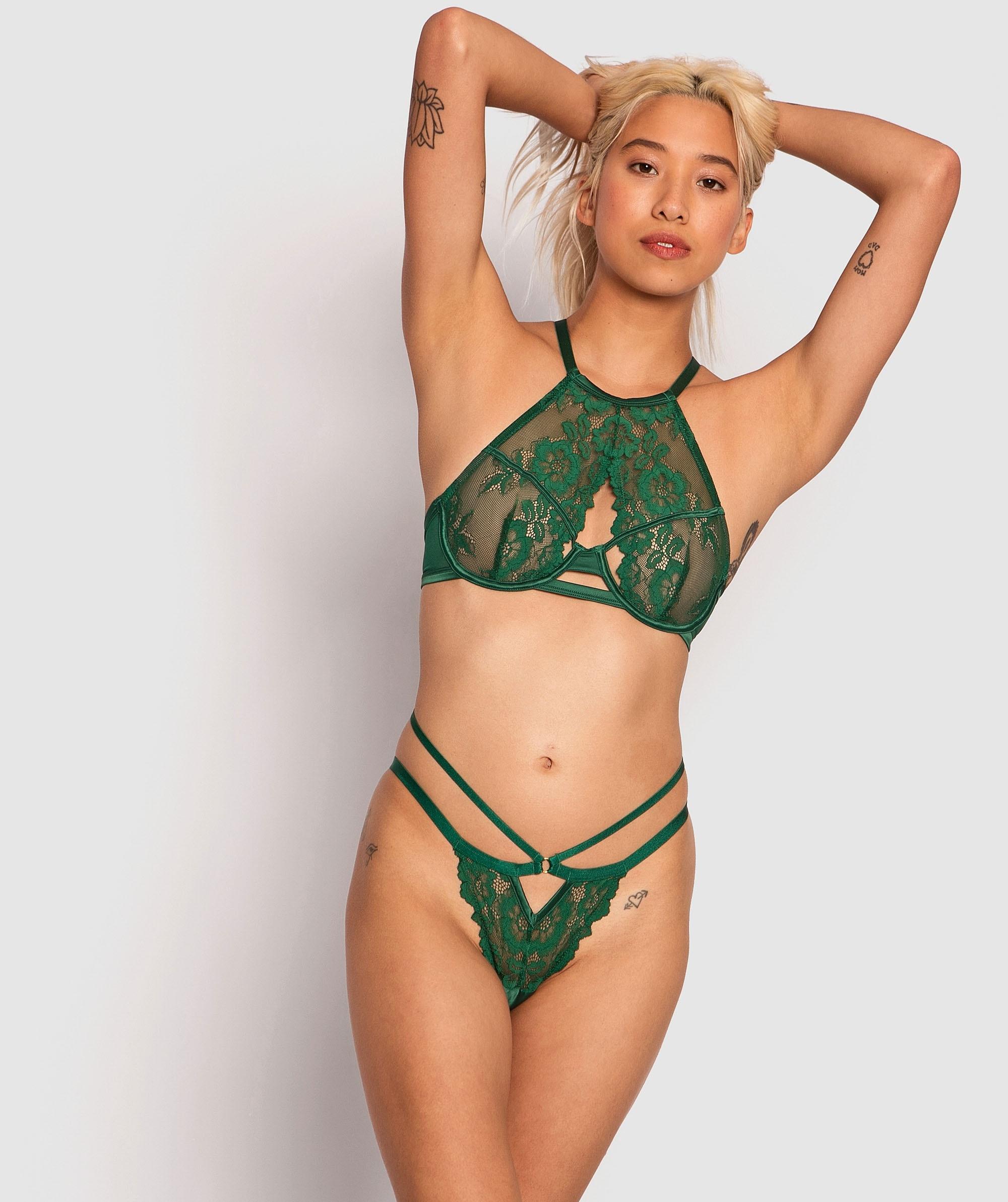 Neve Soft Cup Bra & Mini V Set - Dark Green