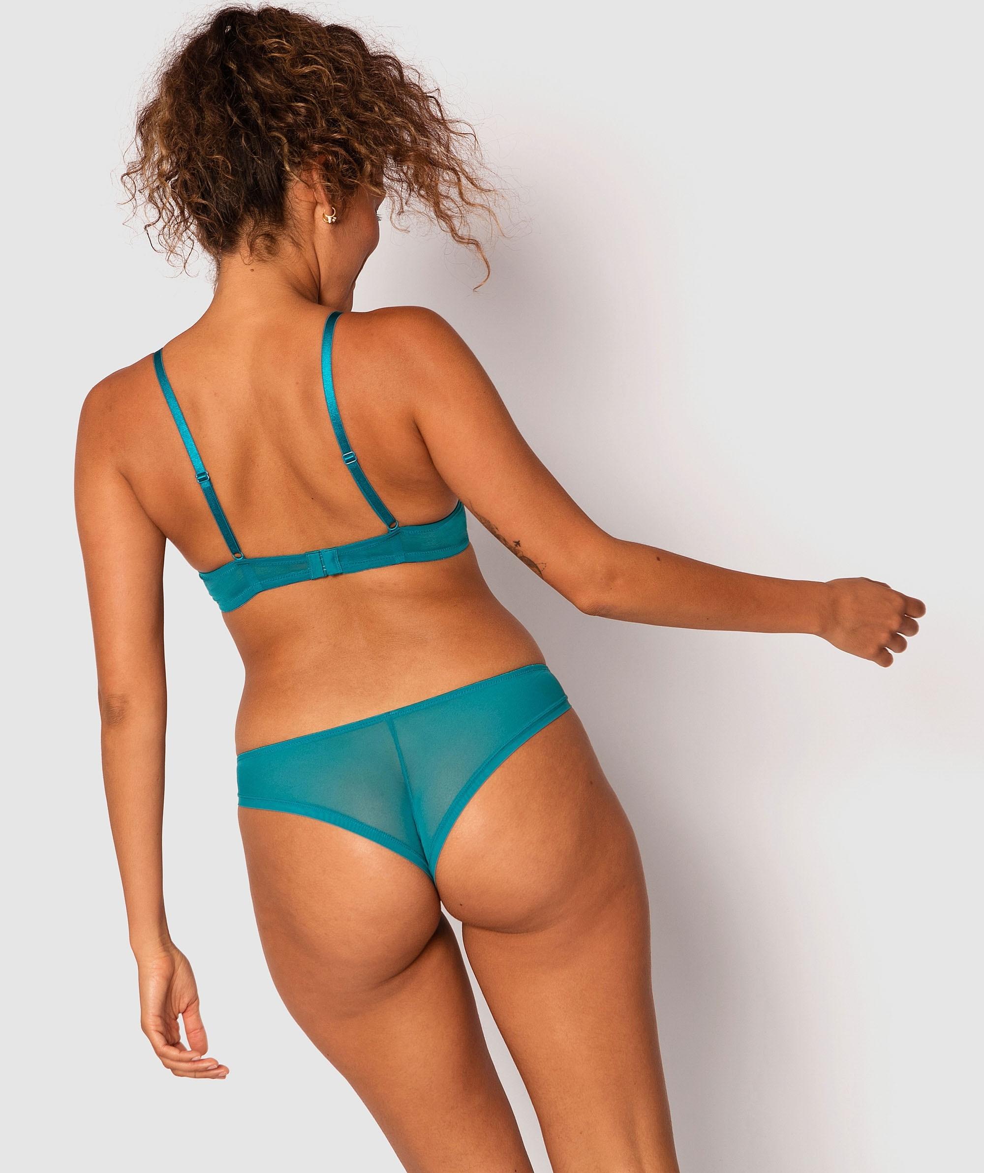 Lilah Brazilian Knicker - Teal/Black