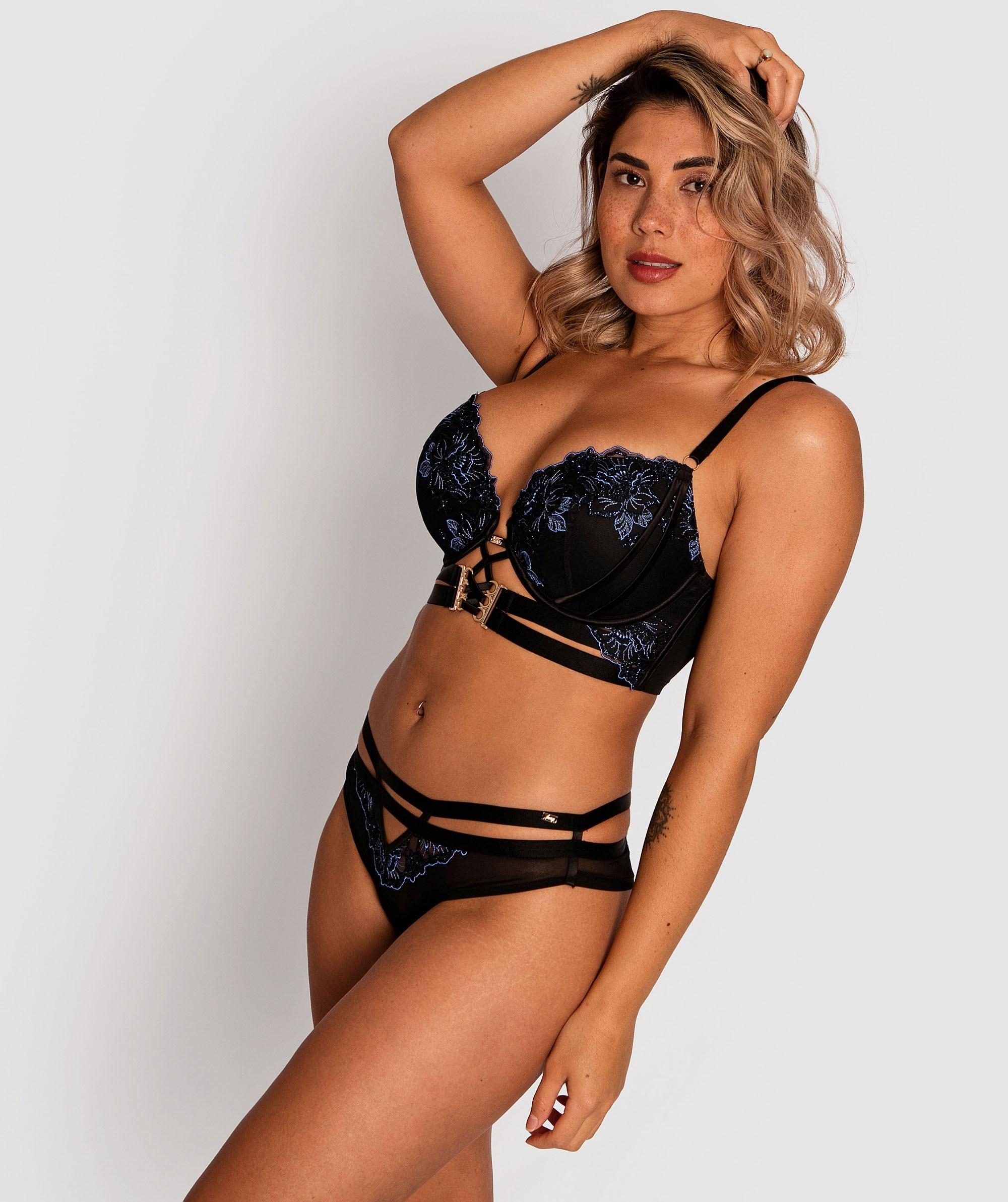 Vamp Eloise High Waist Brazilian Knicker - Black/Blue
