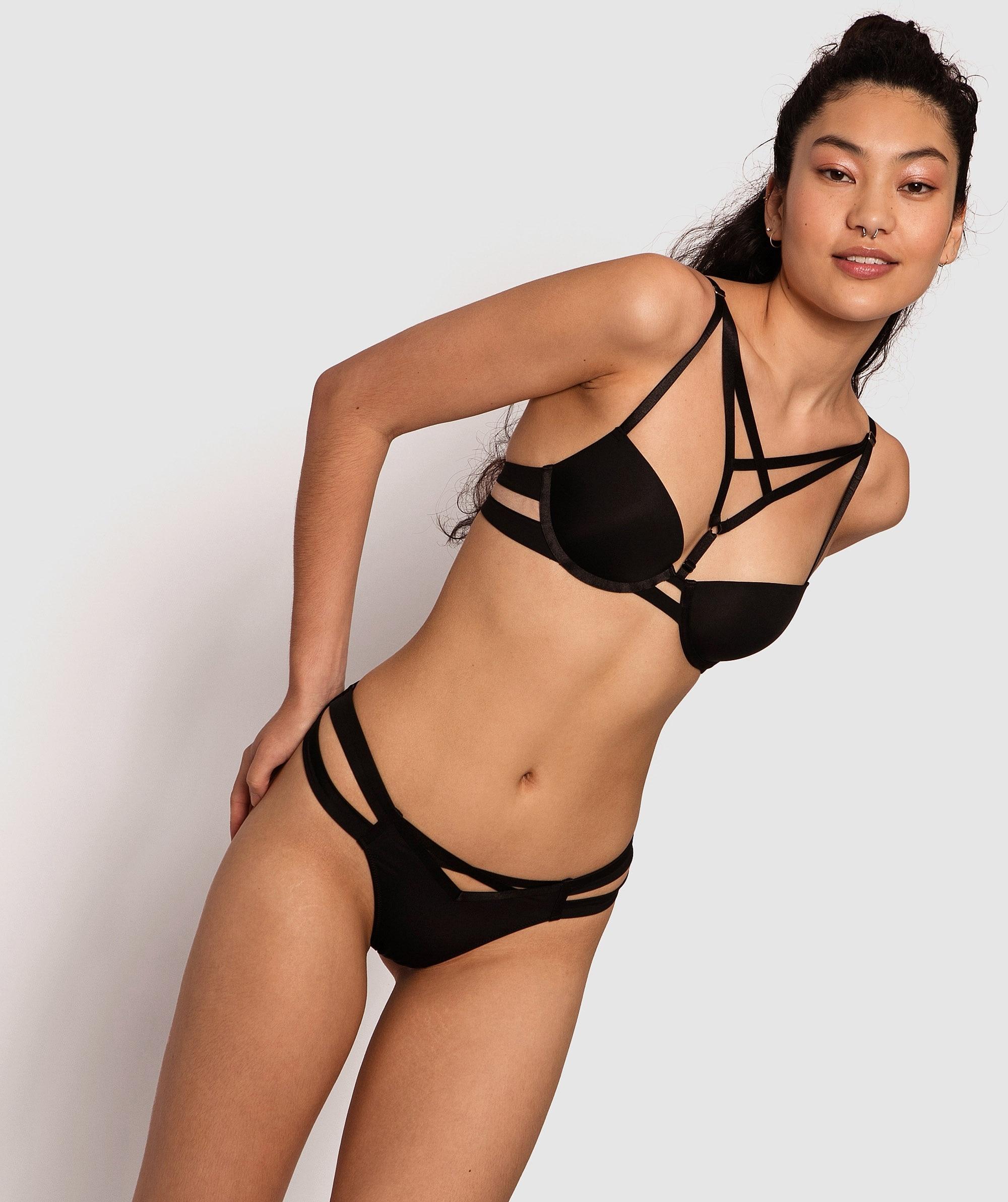 Estelle Brazilian Knicker - Black/Nude