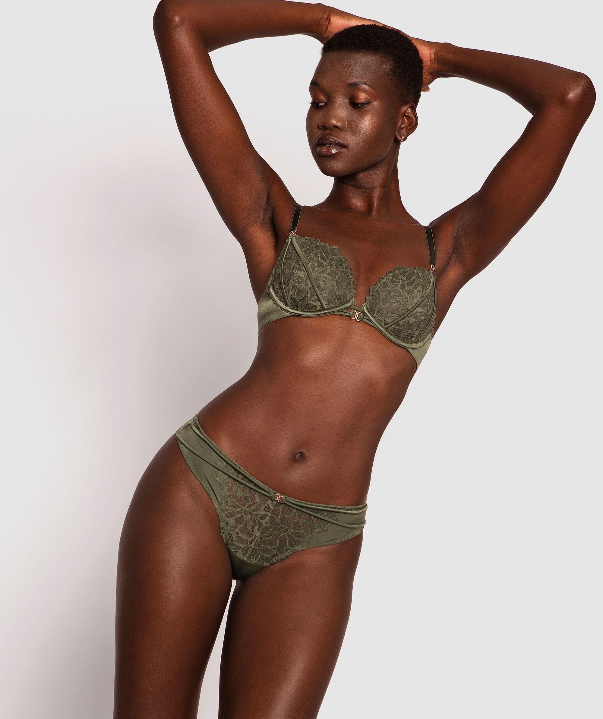 Fleur V String Knicker - Green
