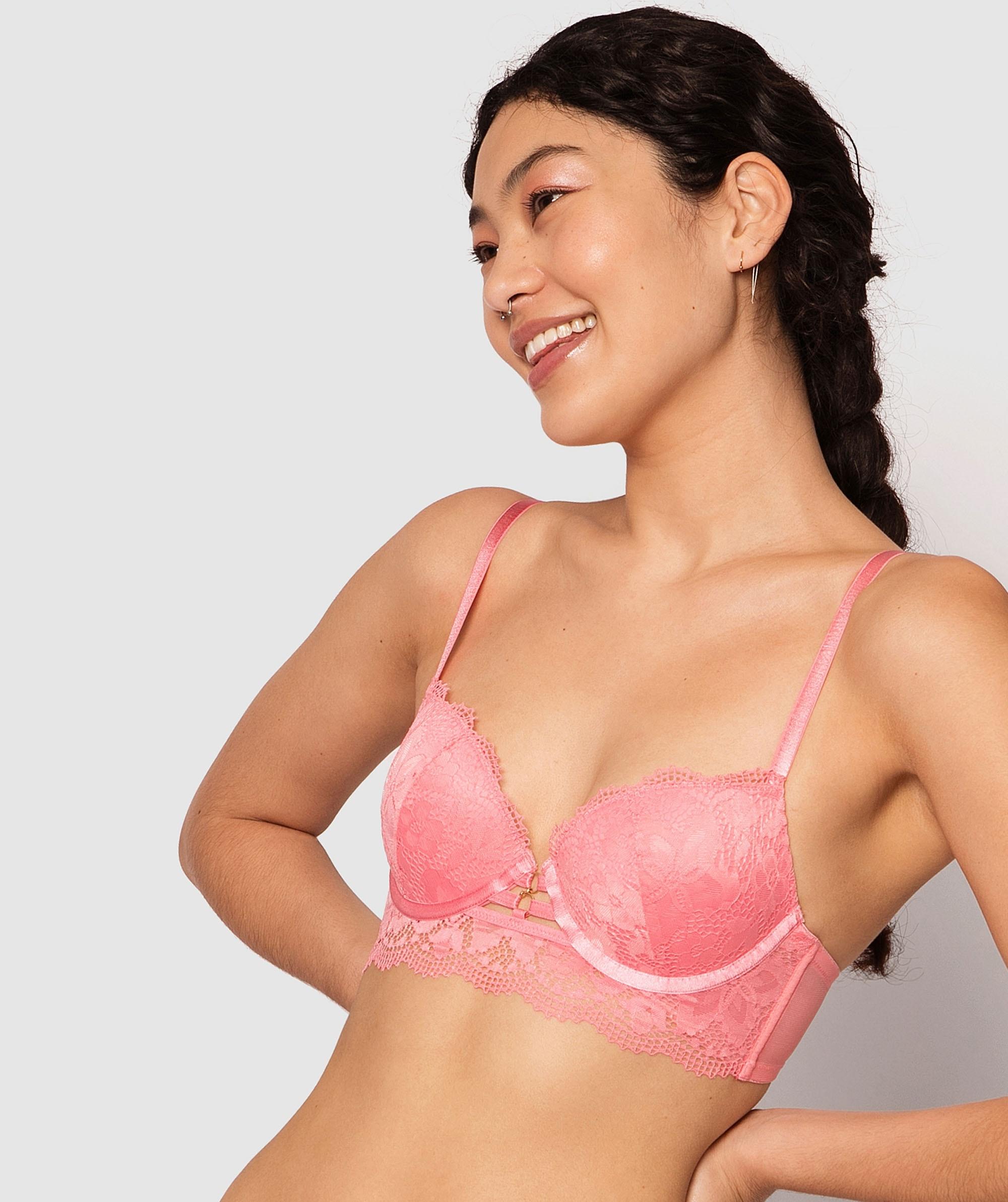 Lillian Balconette Push Up Bra - Pink