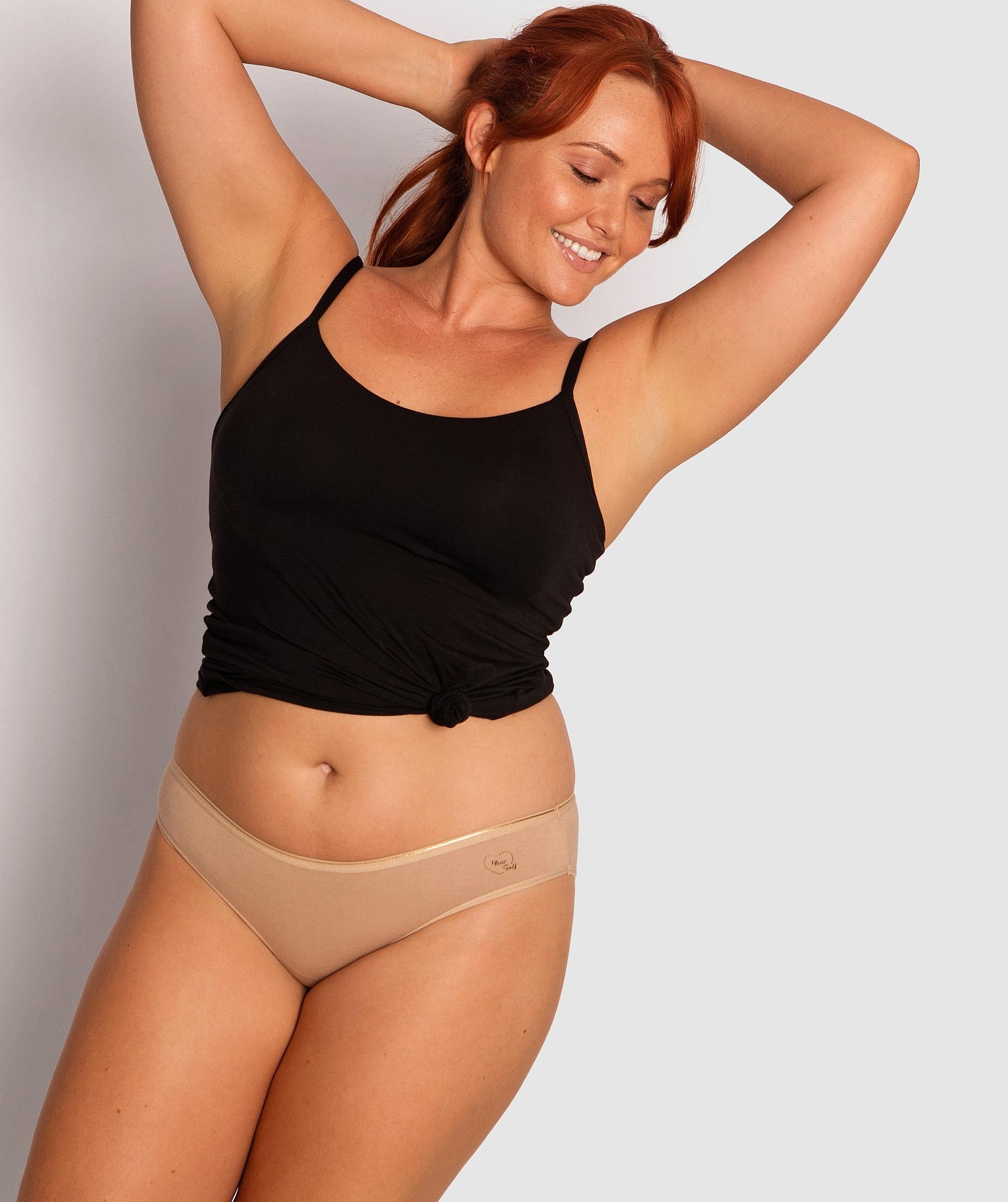 Imperial Cotton Basic Bikini Knicker - Nude/Silver