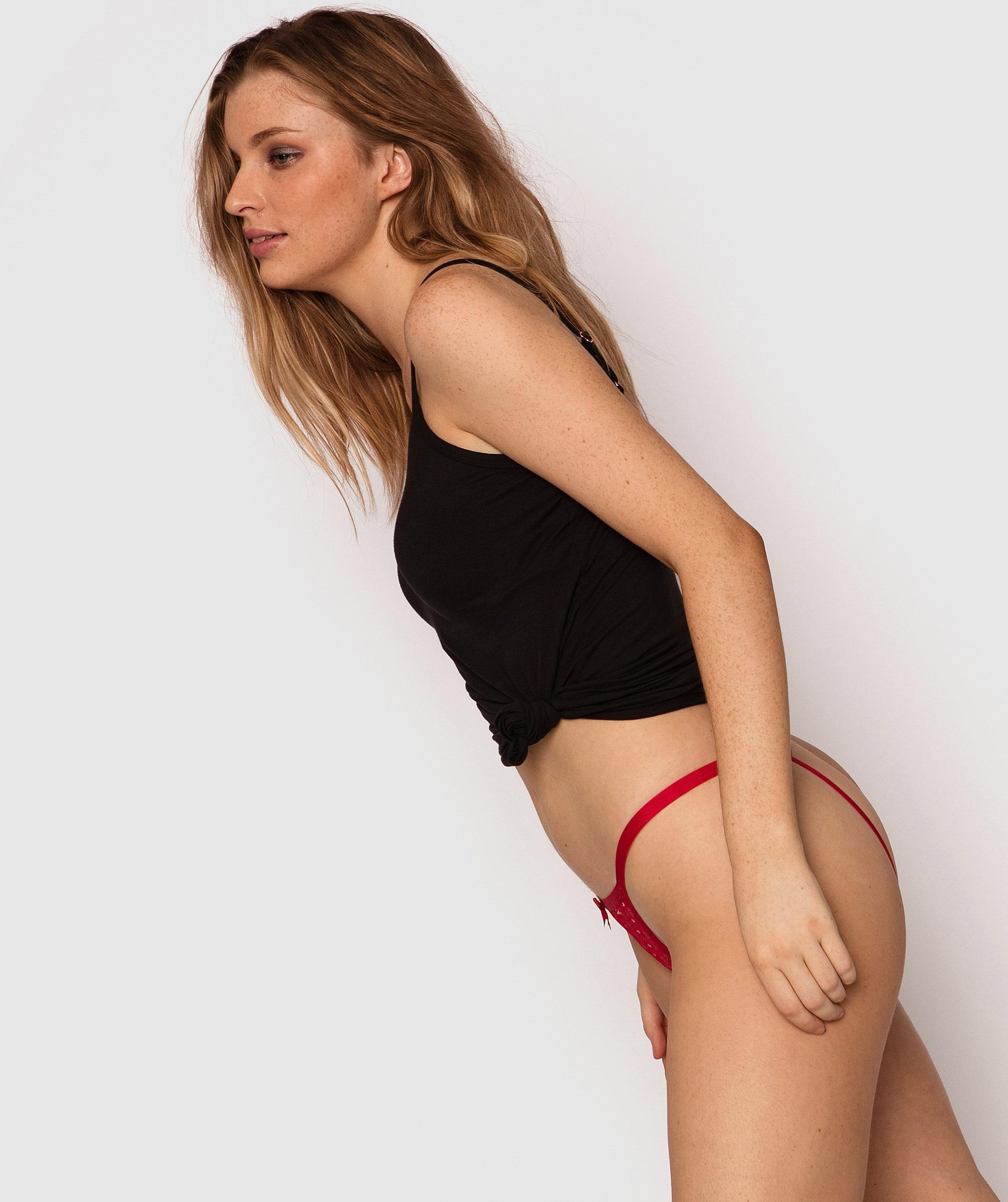 Lulu Crotchless Knicker - Red