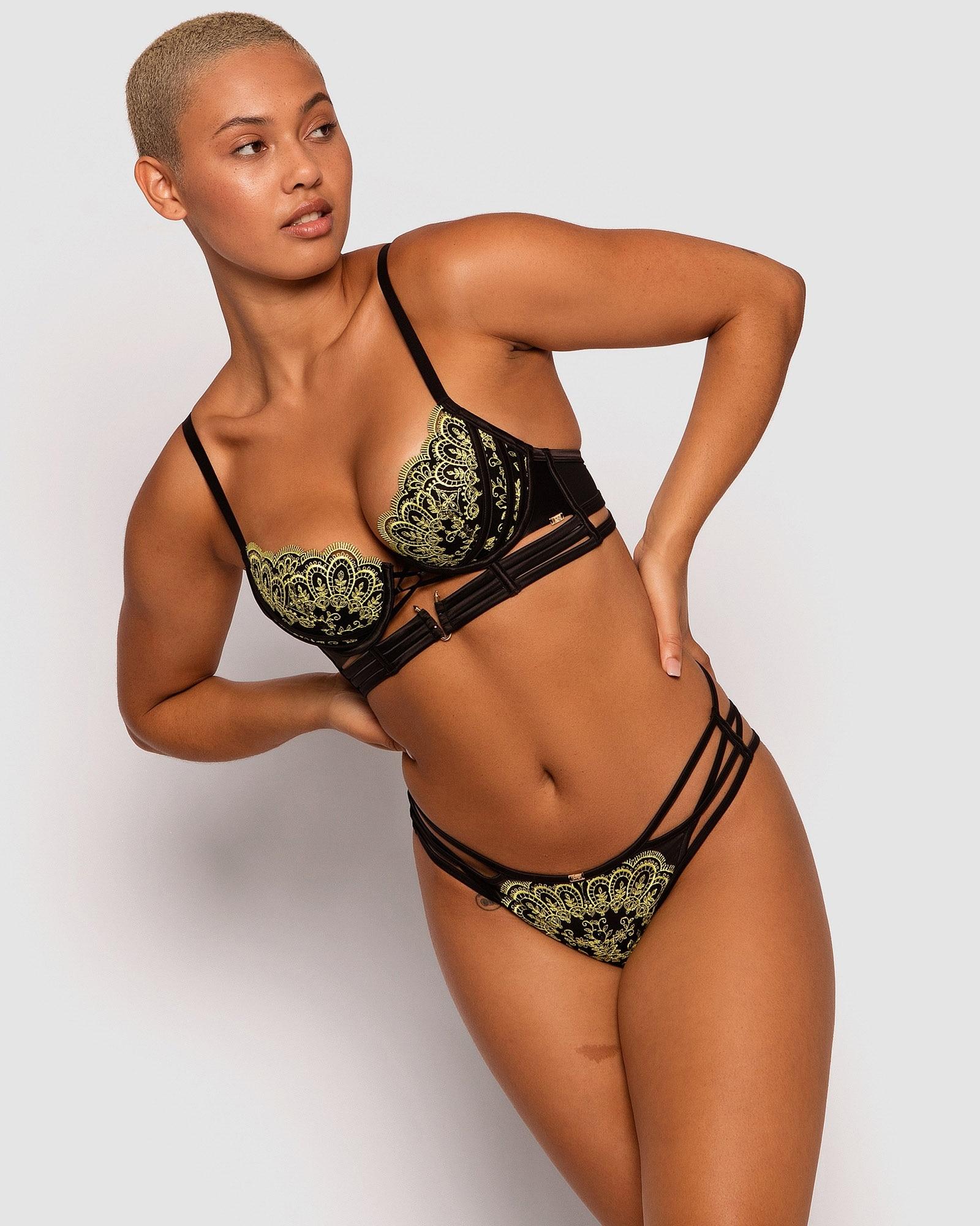Vamp Night Fever Brazilian Knicker - Black/Lime Green
