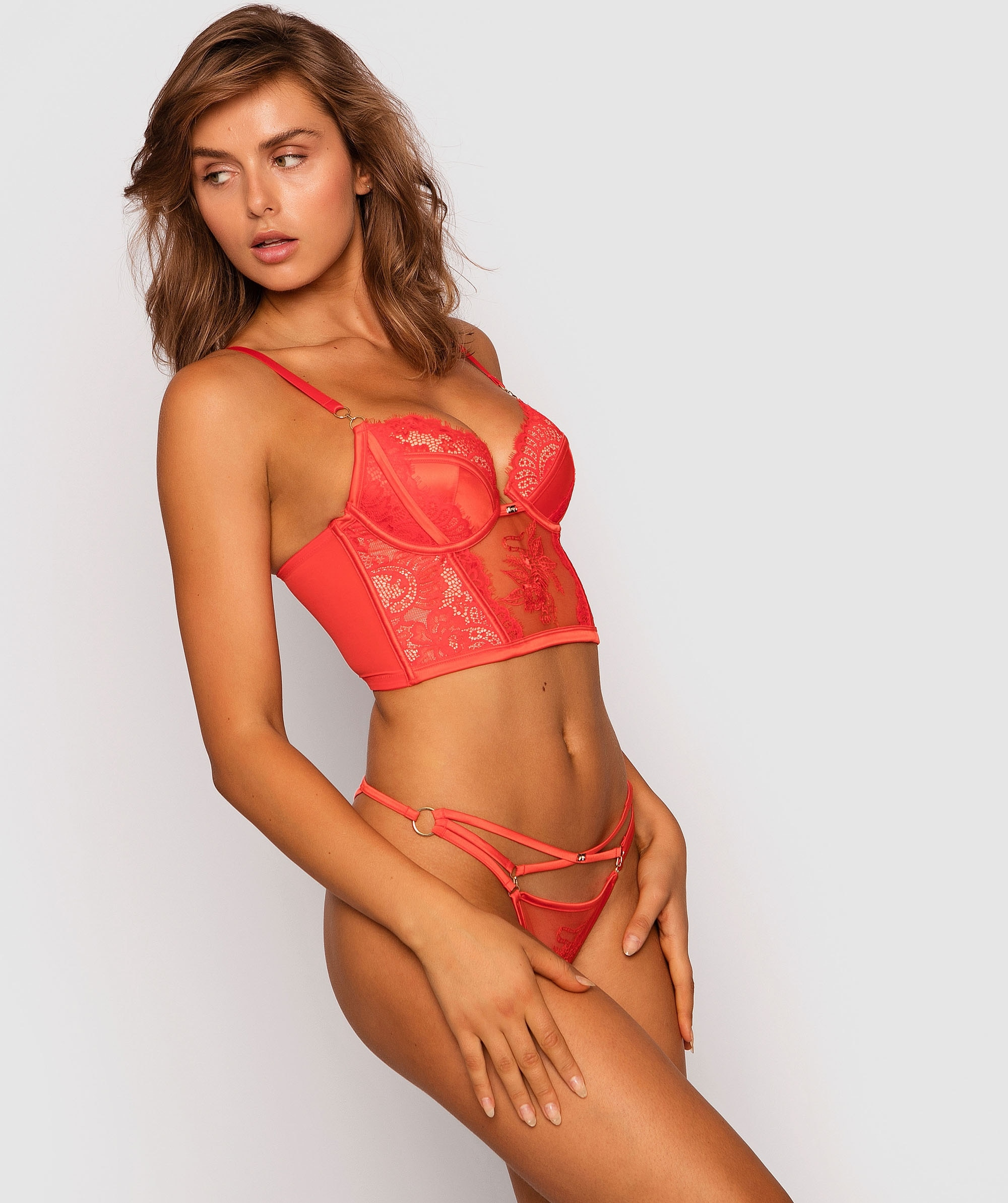 Vamp Wild Thoughts V-String Knicker - Red/Nude