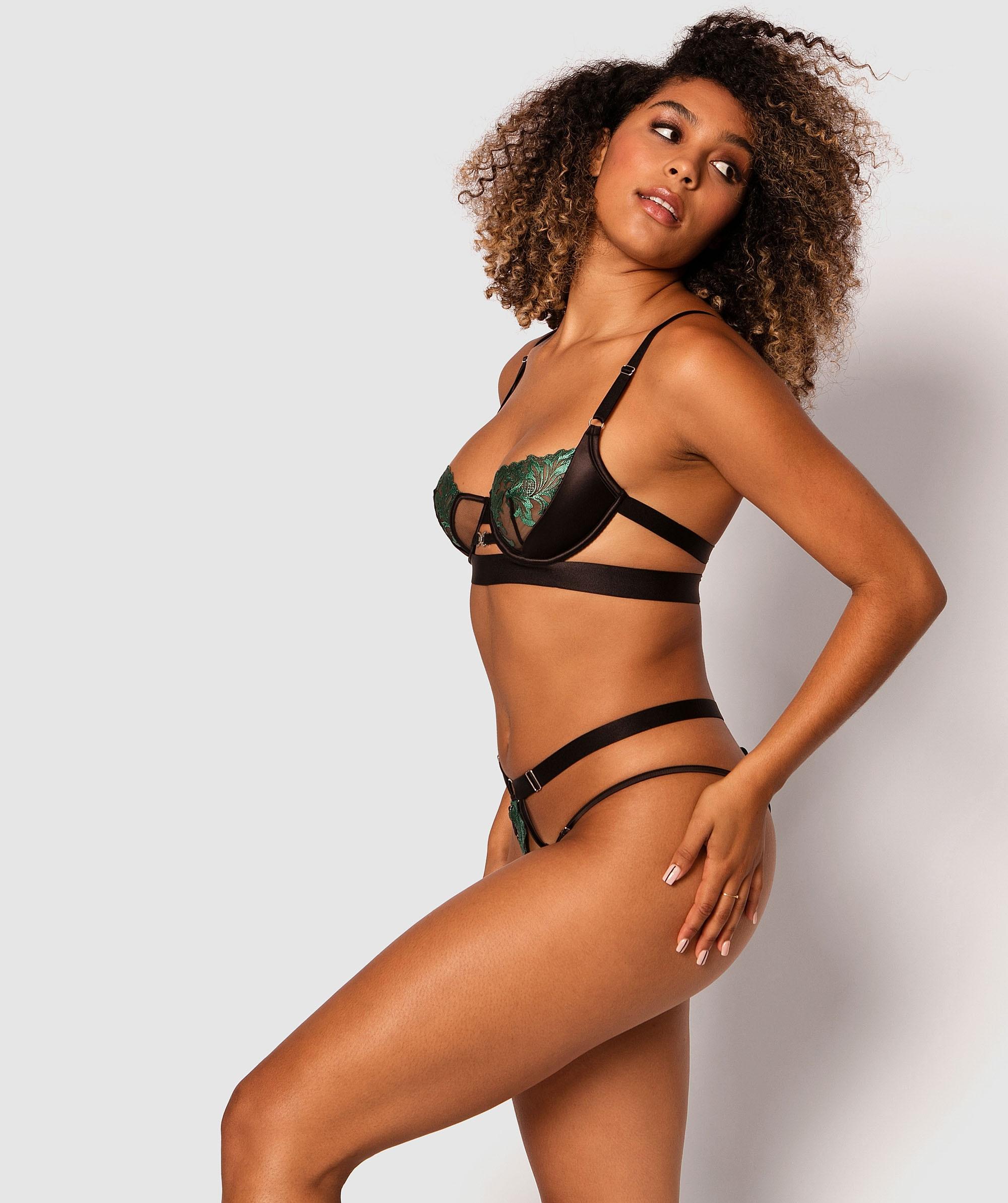 Forget Me Not Brazilian Knicker - Black/Green