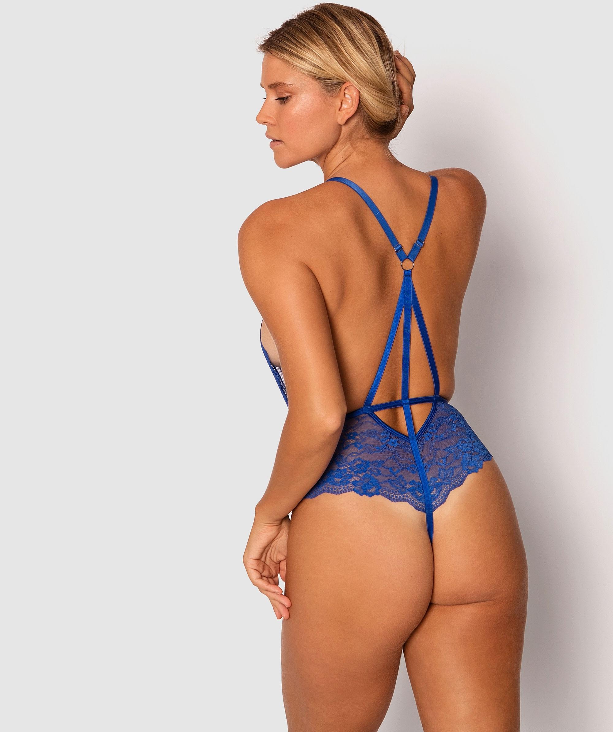 Royal Plunge Bodysuit - Blue