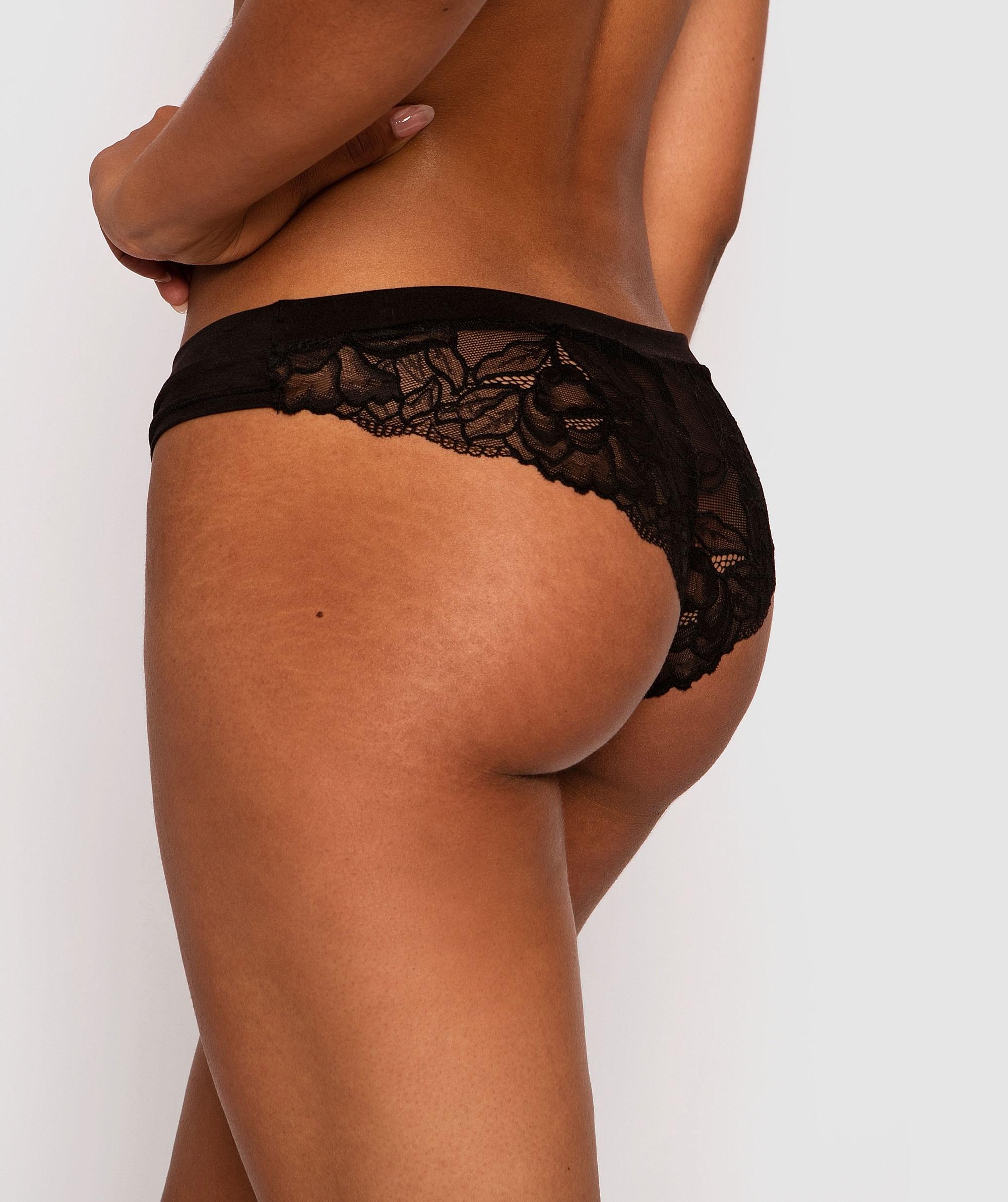 Maternal Instincts Maternity Low Front Brazilian Knicker - Black