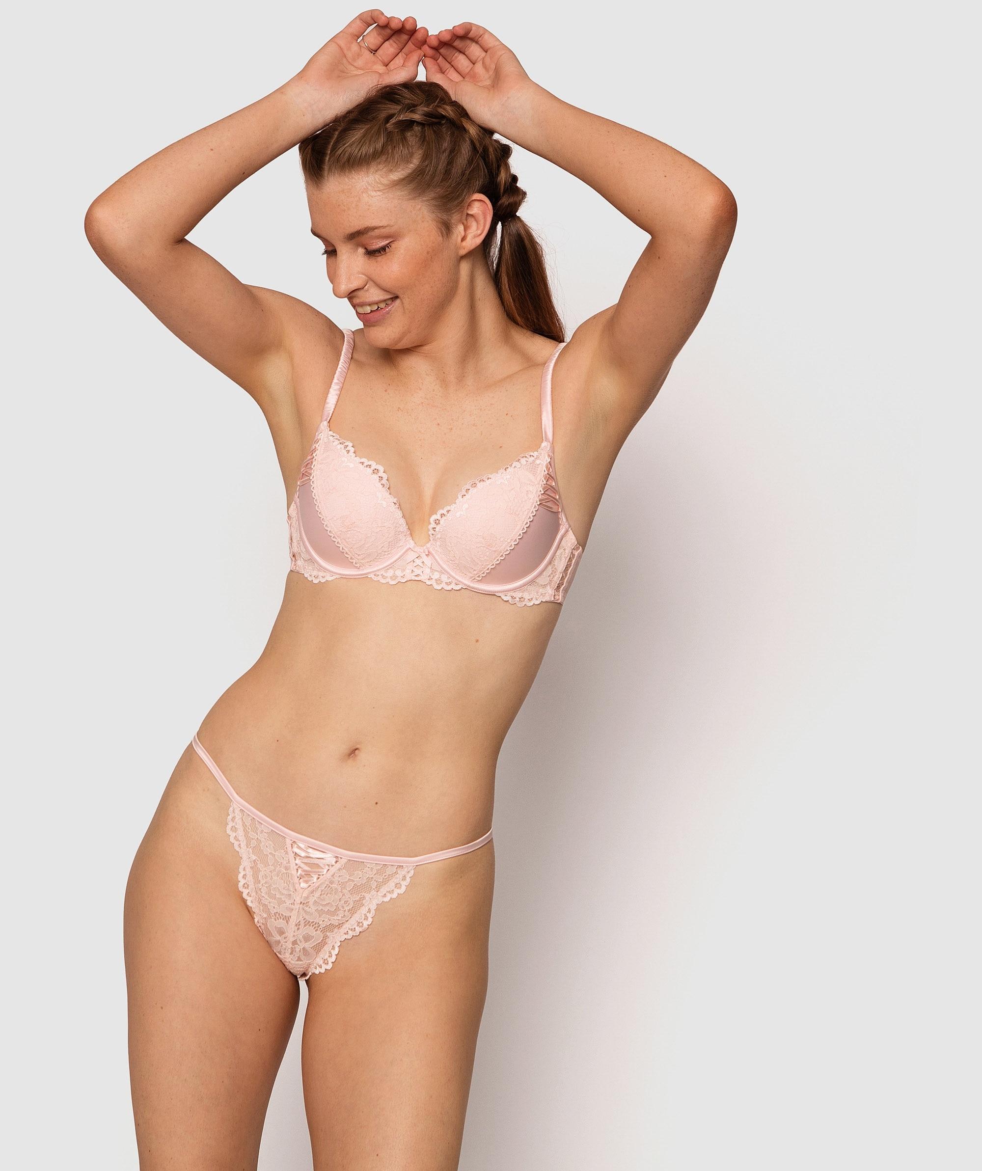Farran Plunge Push Up Bra - Light Pink