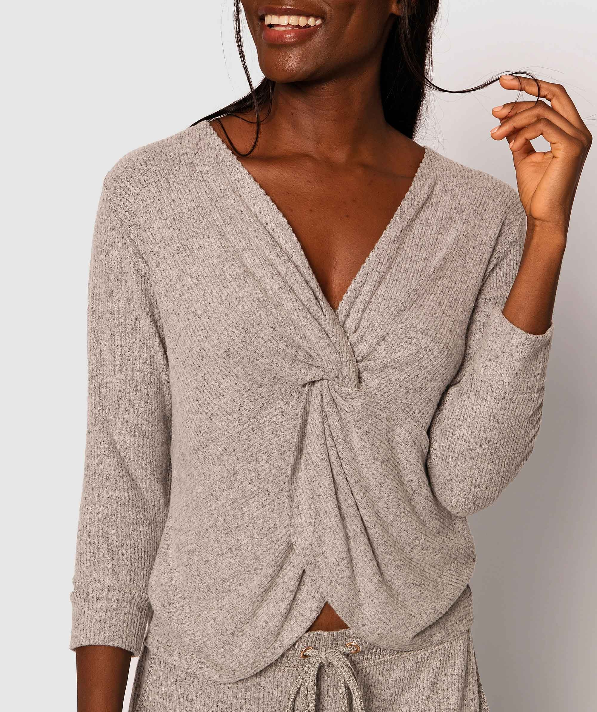 Twyla Long Sleeve Knot Front Top  - Grey