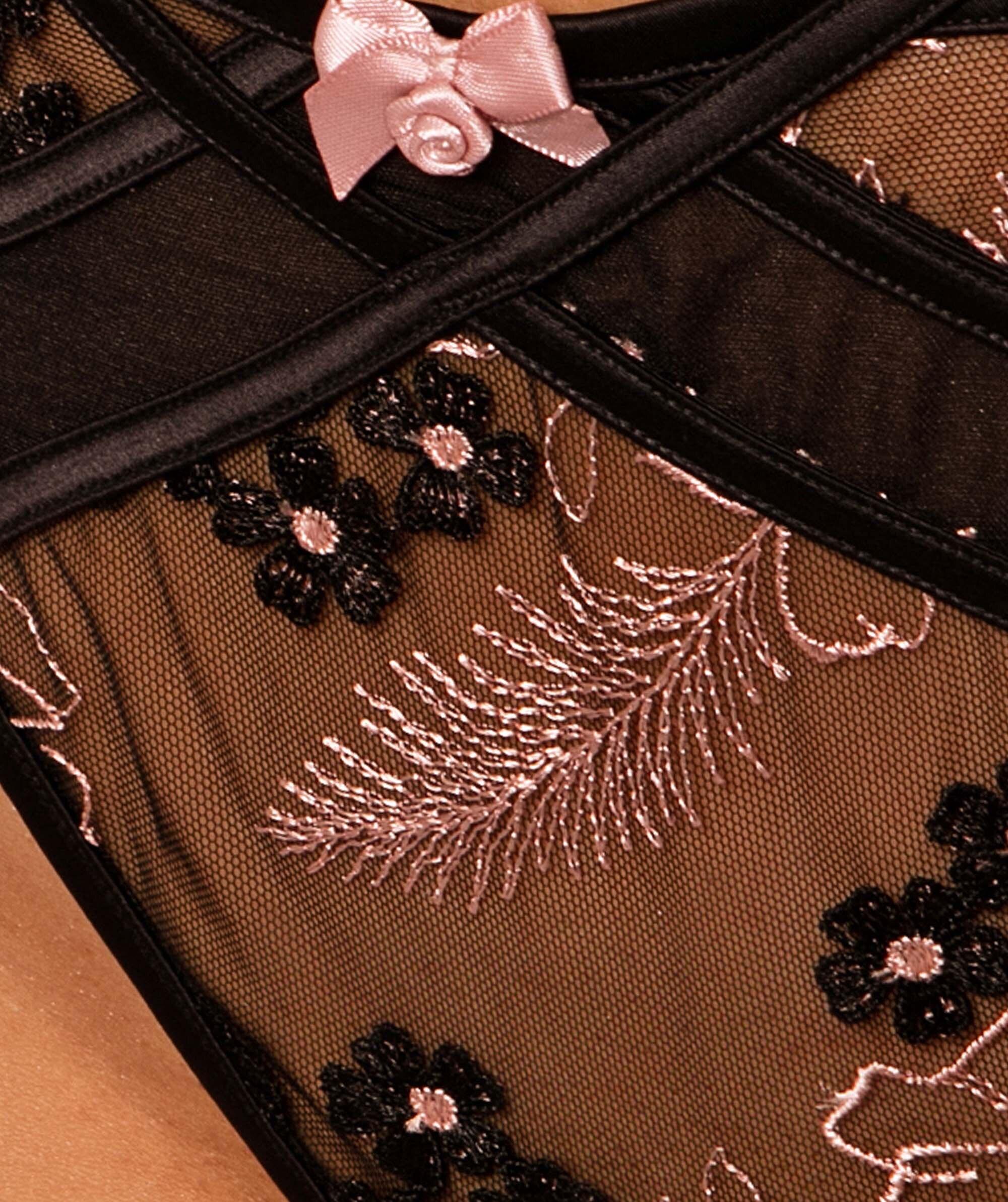 Enchanted Orleans Mini V Knicker - Black/Rose Gold