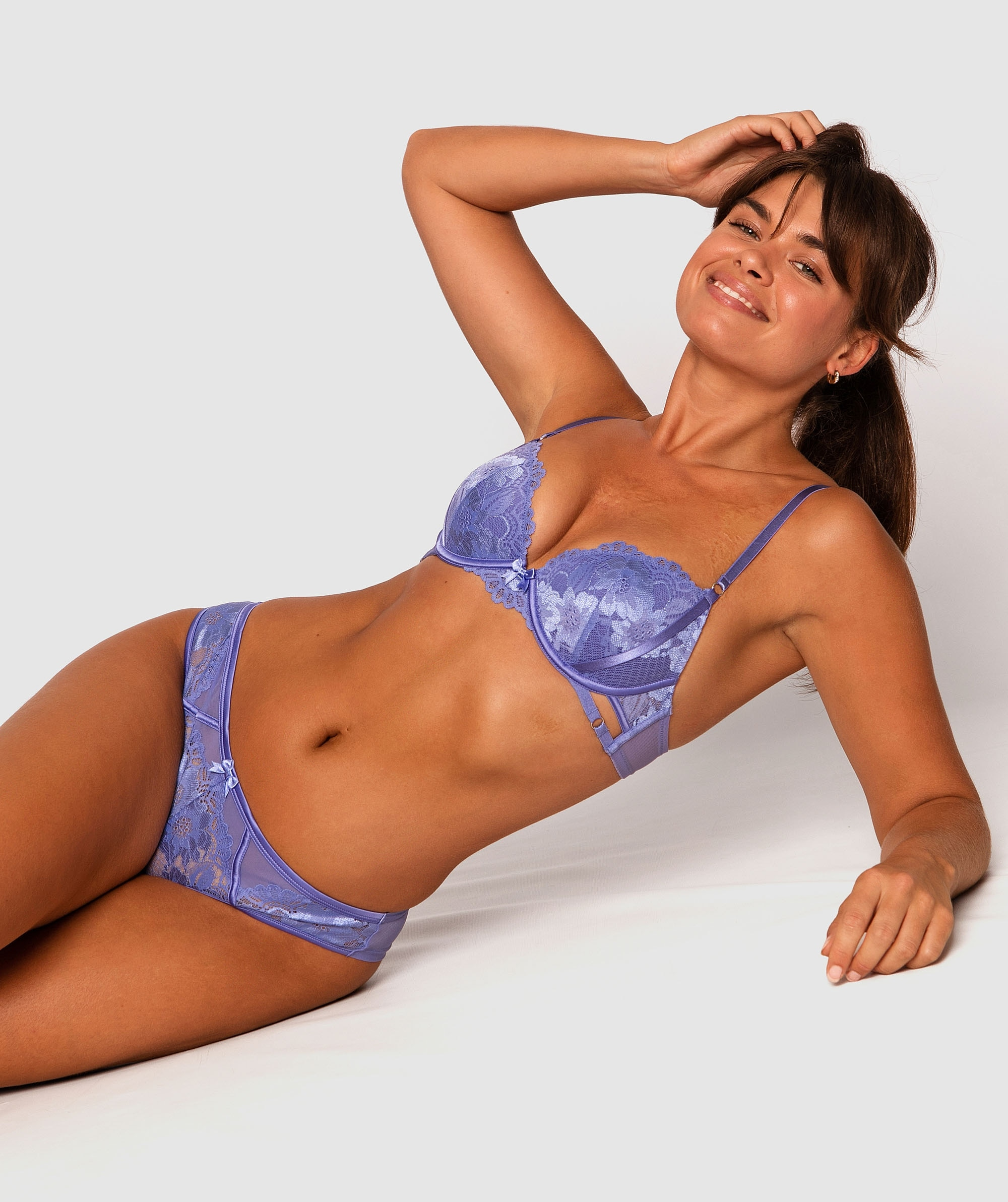 Gemma Balconette Push Up Bra - Cobalt Blue