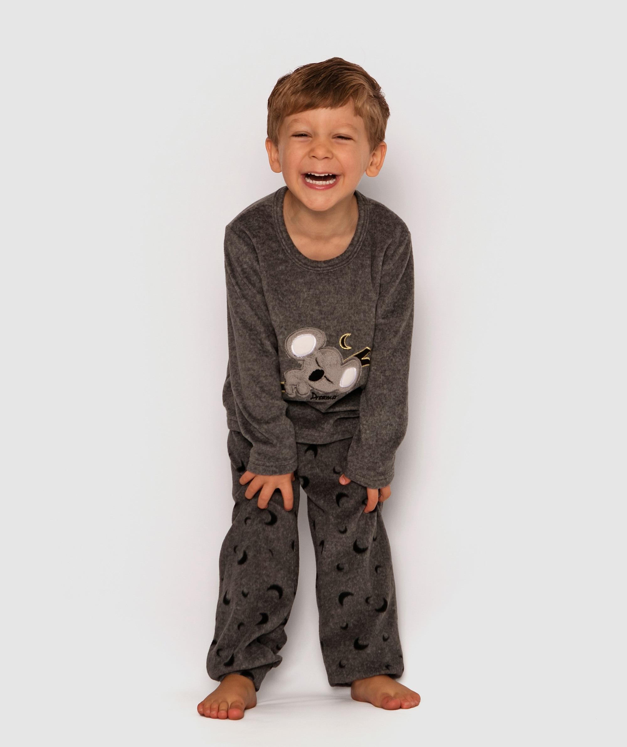Slumber Party Koala Kids Long Pj Set - Grey