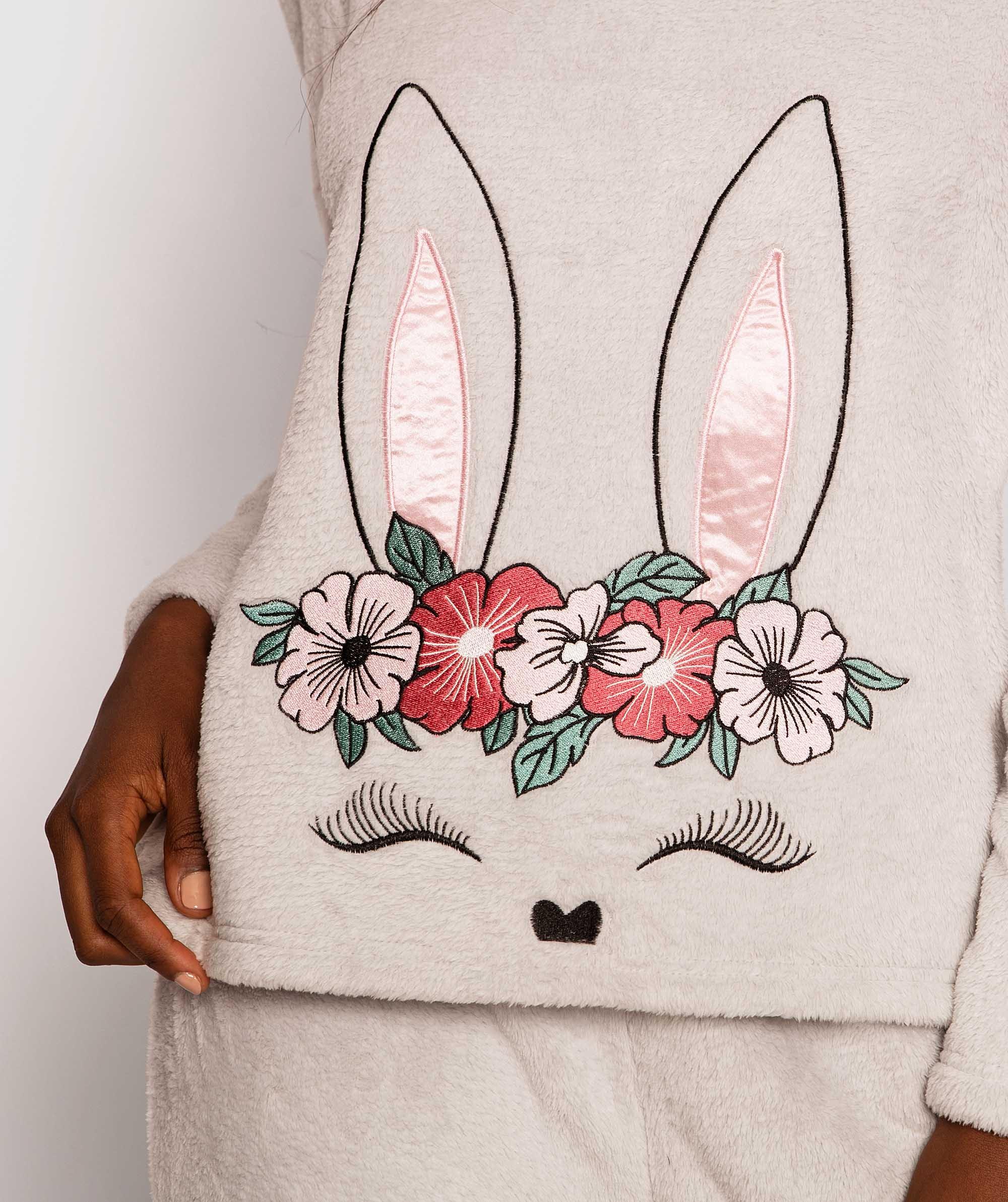 Lush Fleece Bunny Long Sleeve Top - Grey