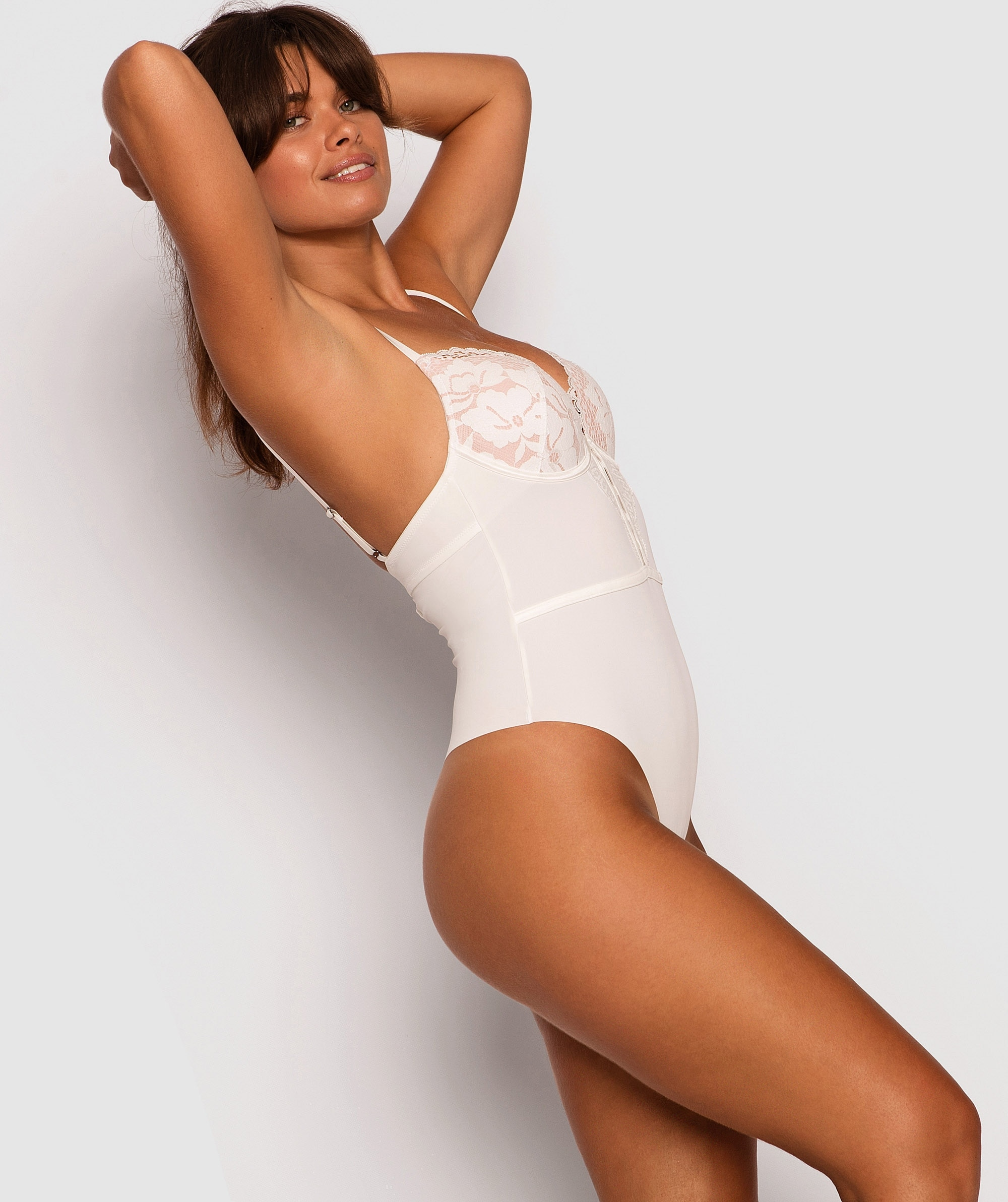 Fashion Sensations Push Up Bodysuit - Ivory/Nude