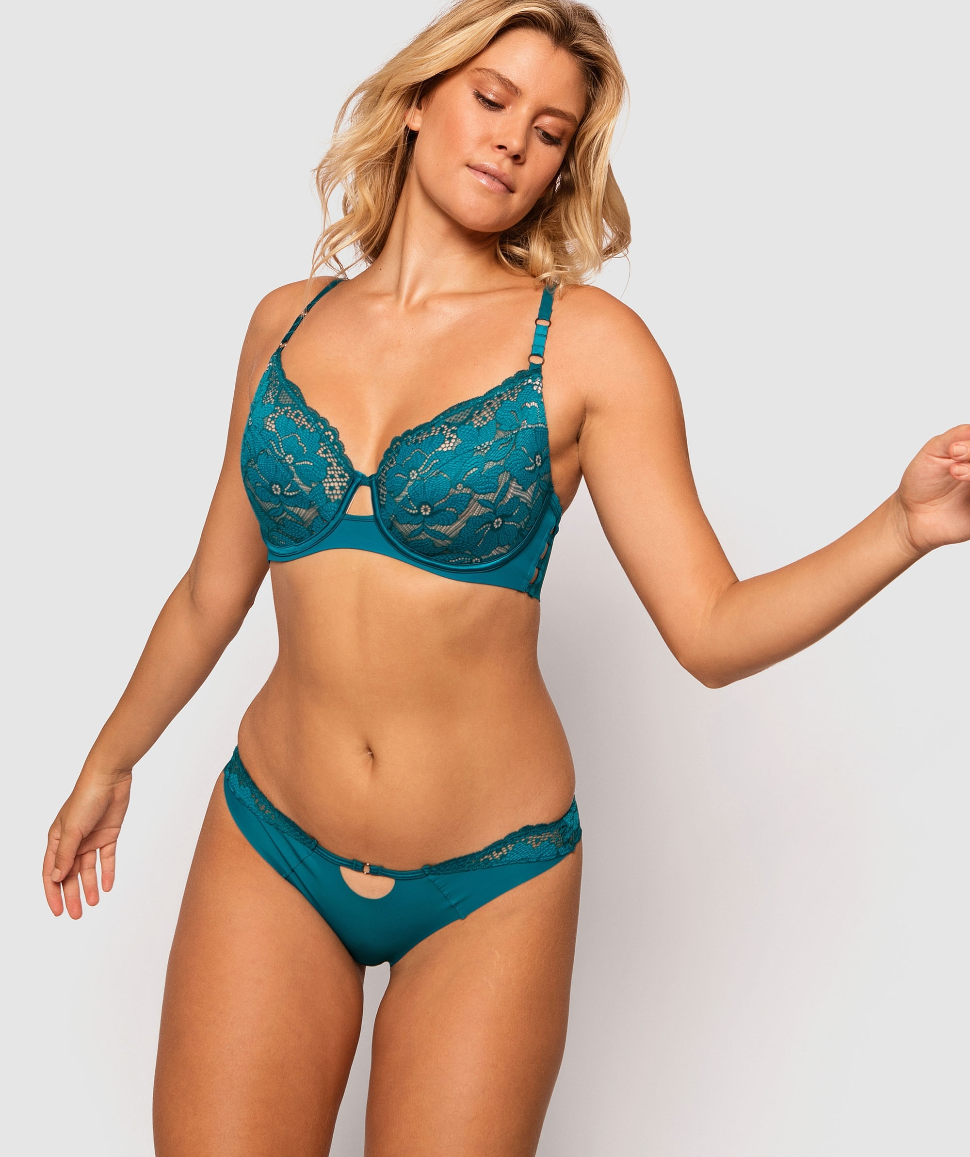 Fashion Sensations Plunge Full Cup Bra - Teal/Nude