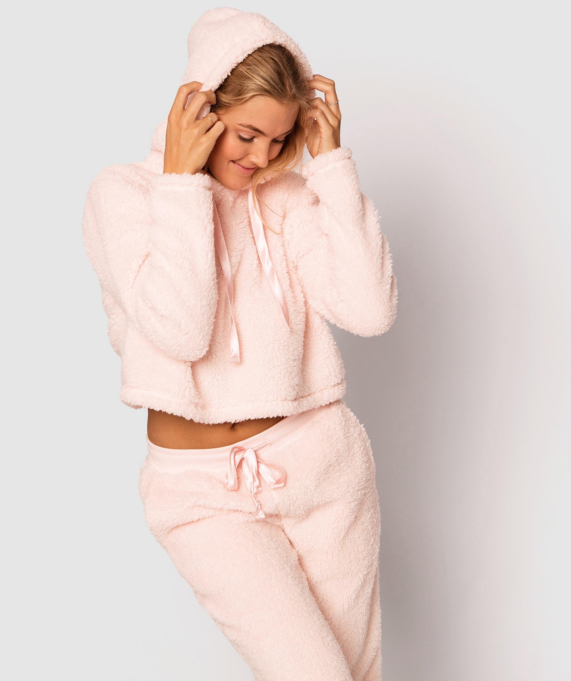 Teddy Crop Hoodie - Pink