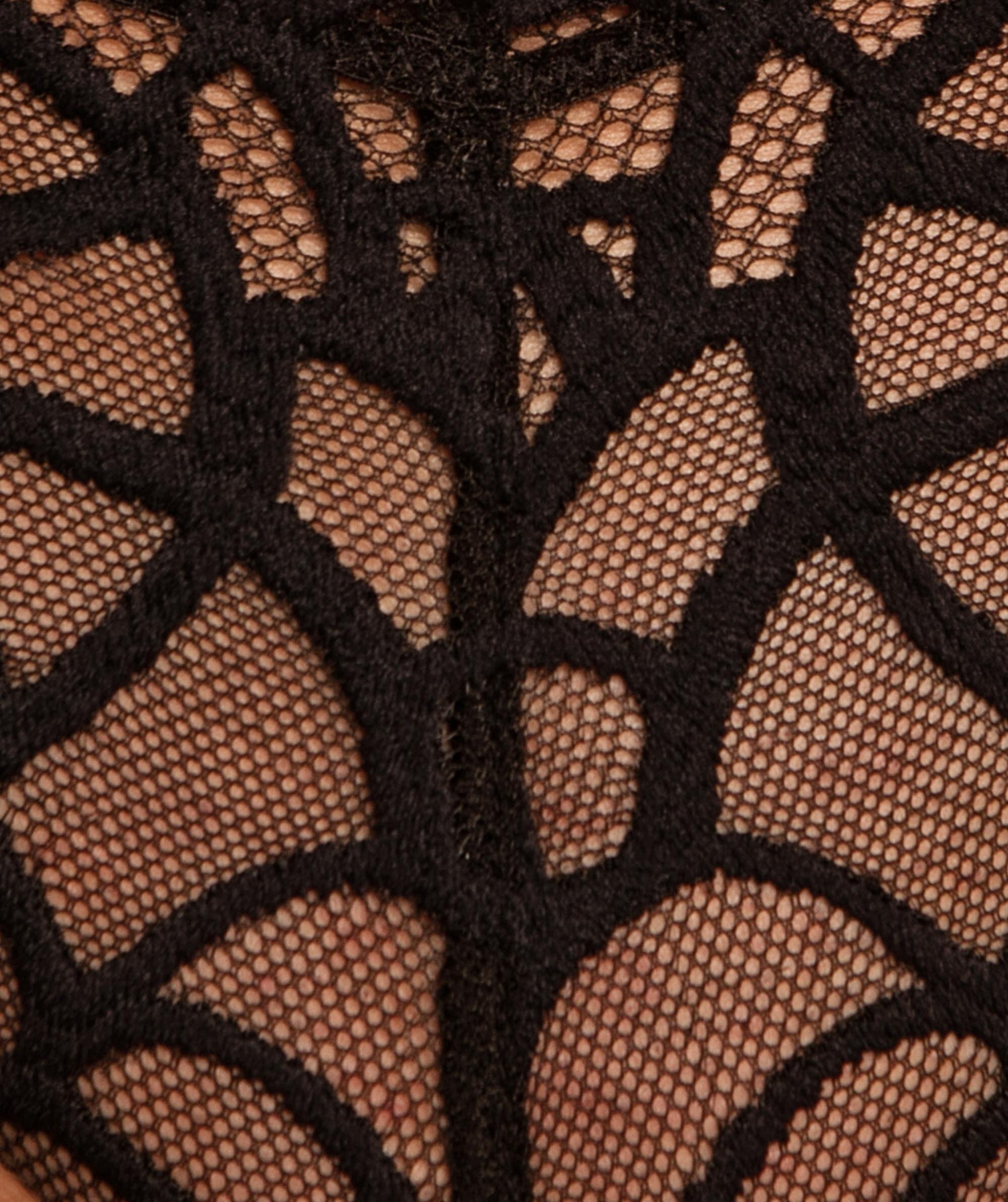 Enchanted Anjou High Waisted V-String Knicker - Black/Nude