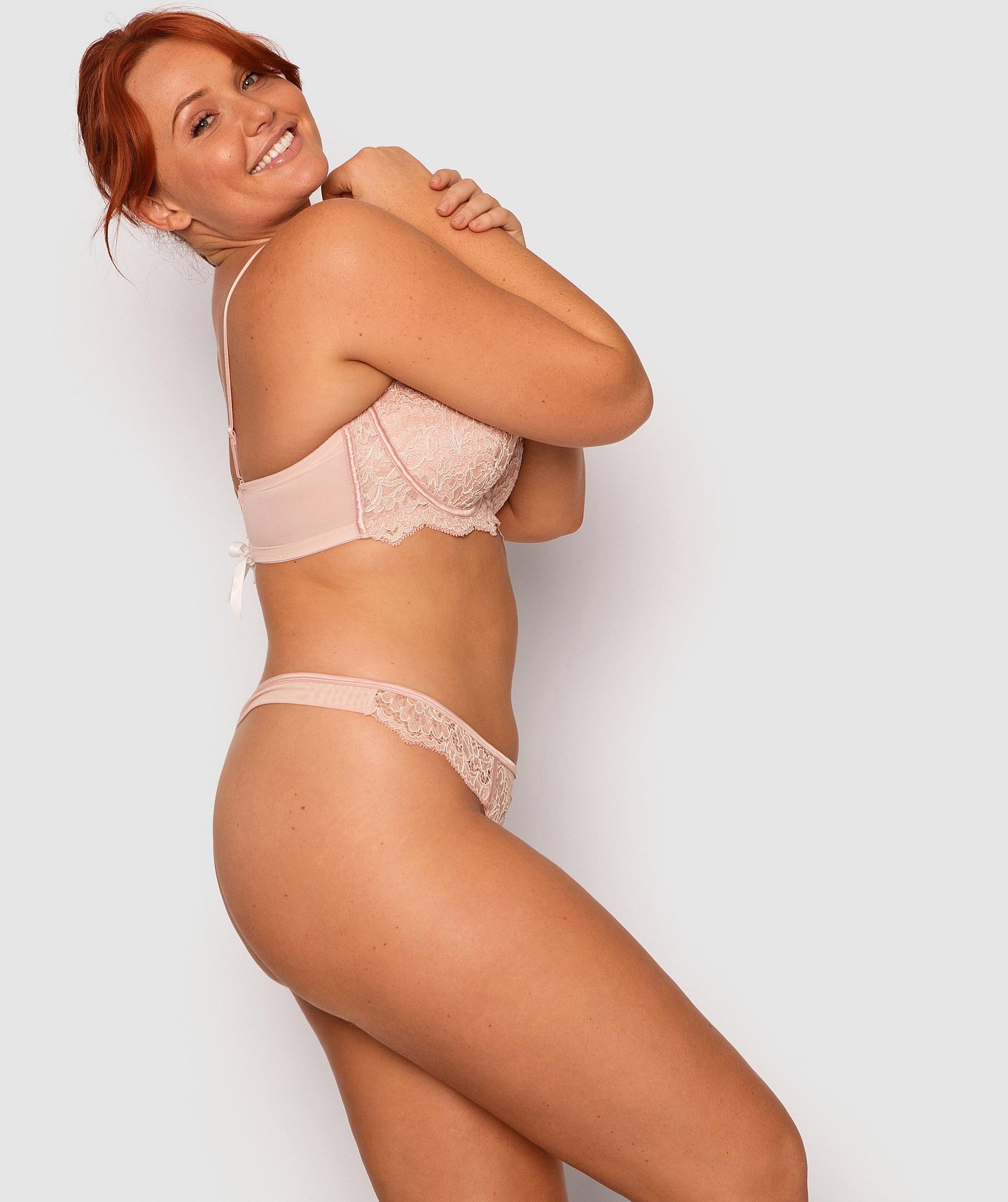 Roxanne V String Knicker - Light Pink/White