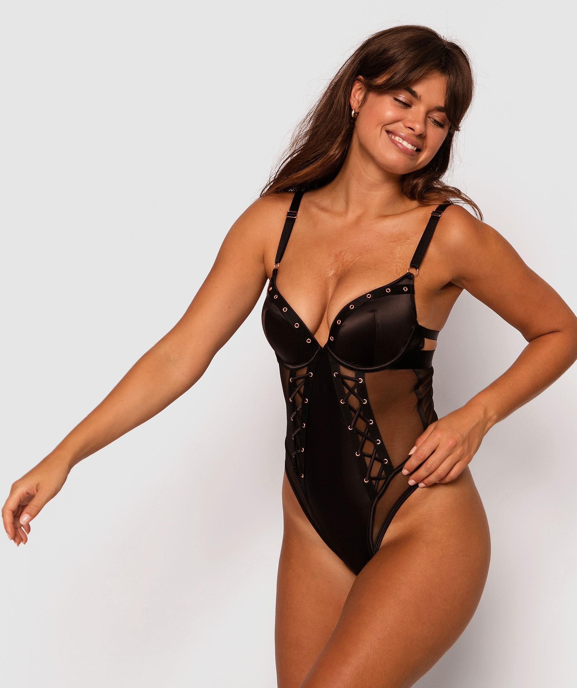 Tantalize Push Up Bodysuit - Black