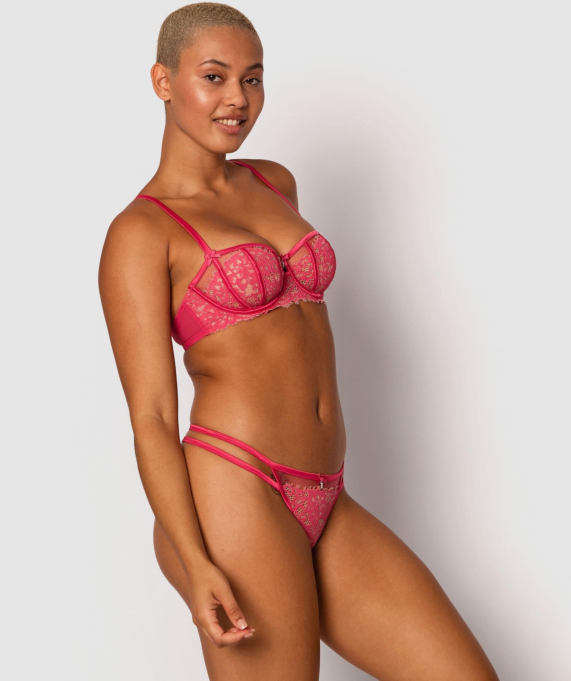 Karina V- String Knicker - Dark Pink/Nude