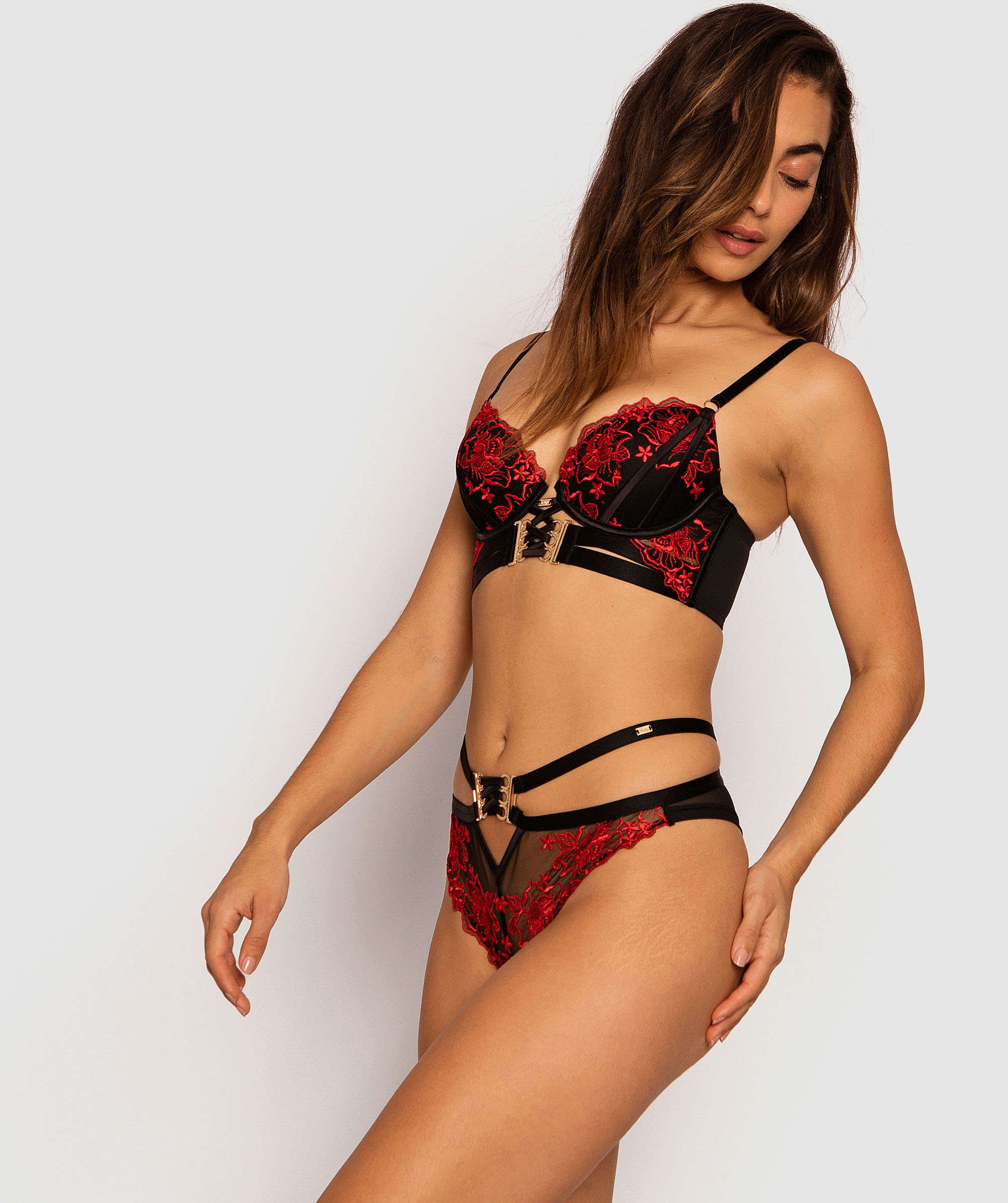 Vamp Eloise Brazilian Knicker - Black/Red