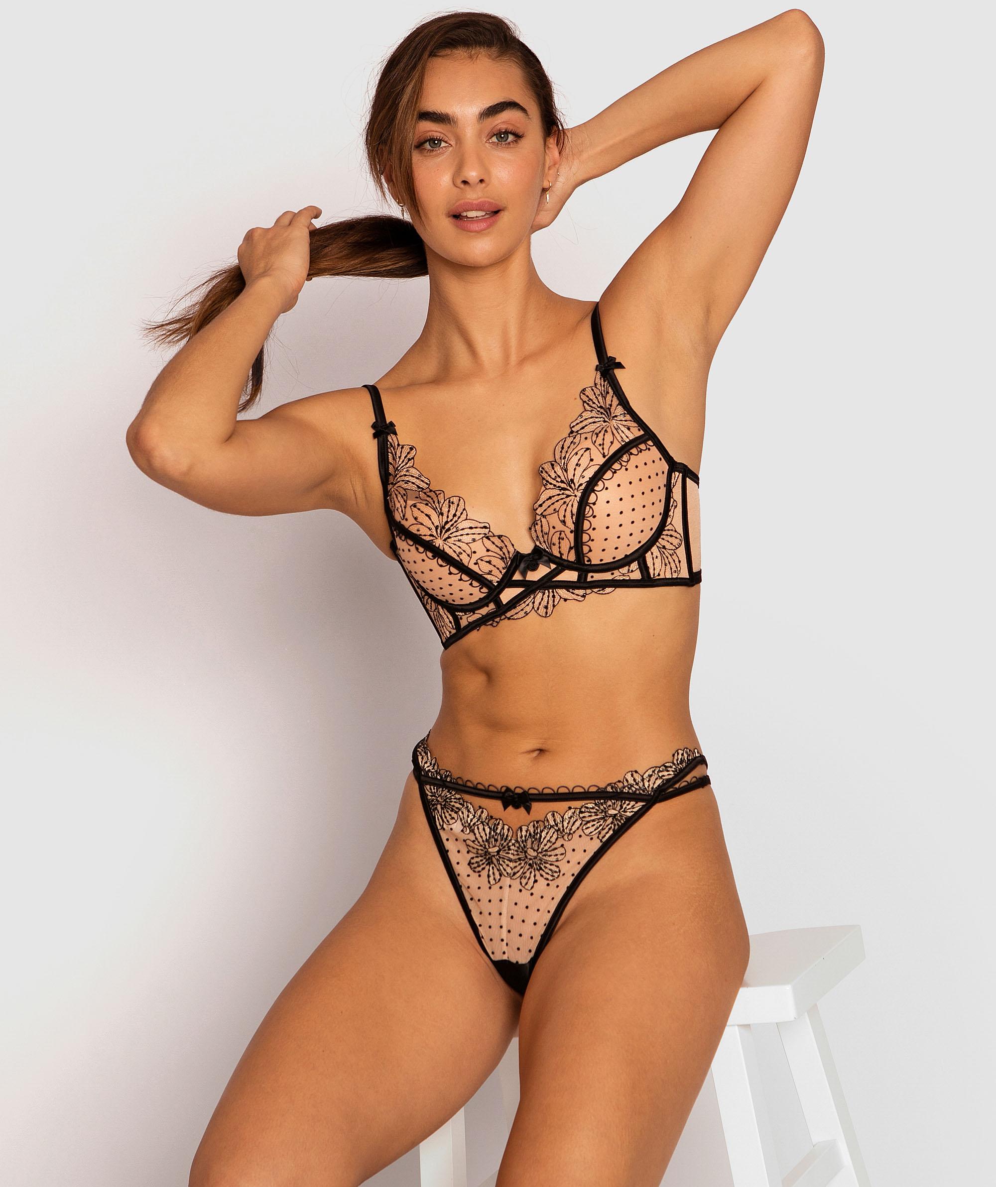 Enchanted Maiella Mini V Knicker - Black/Nude