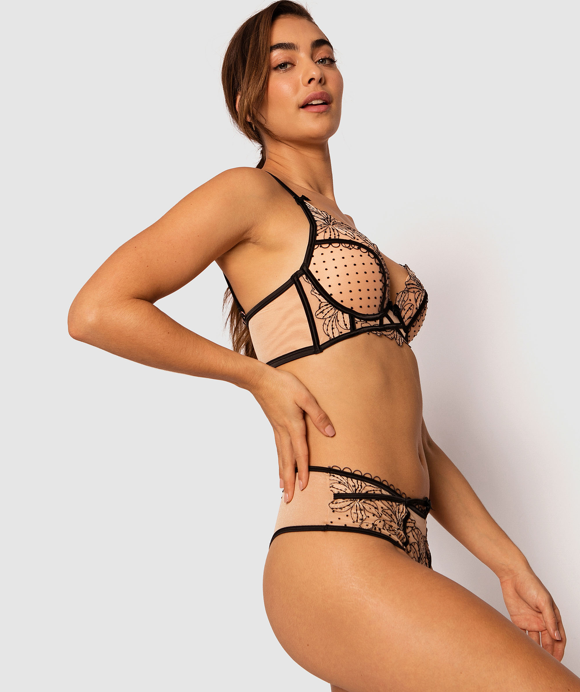 Enchanted Maiella High Waisted V String Knicker - Black/Nude