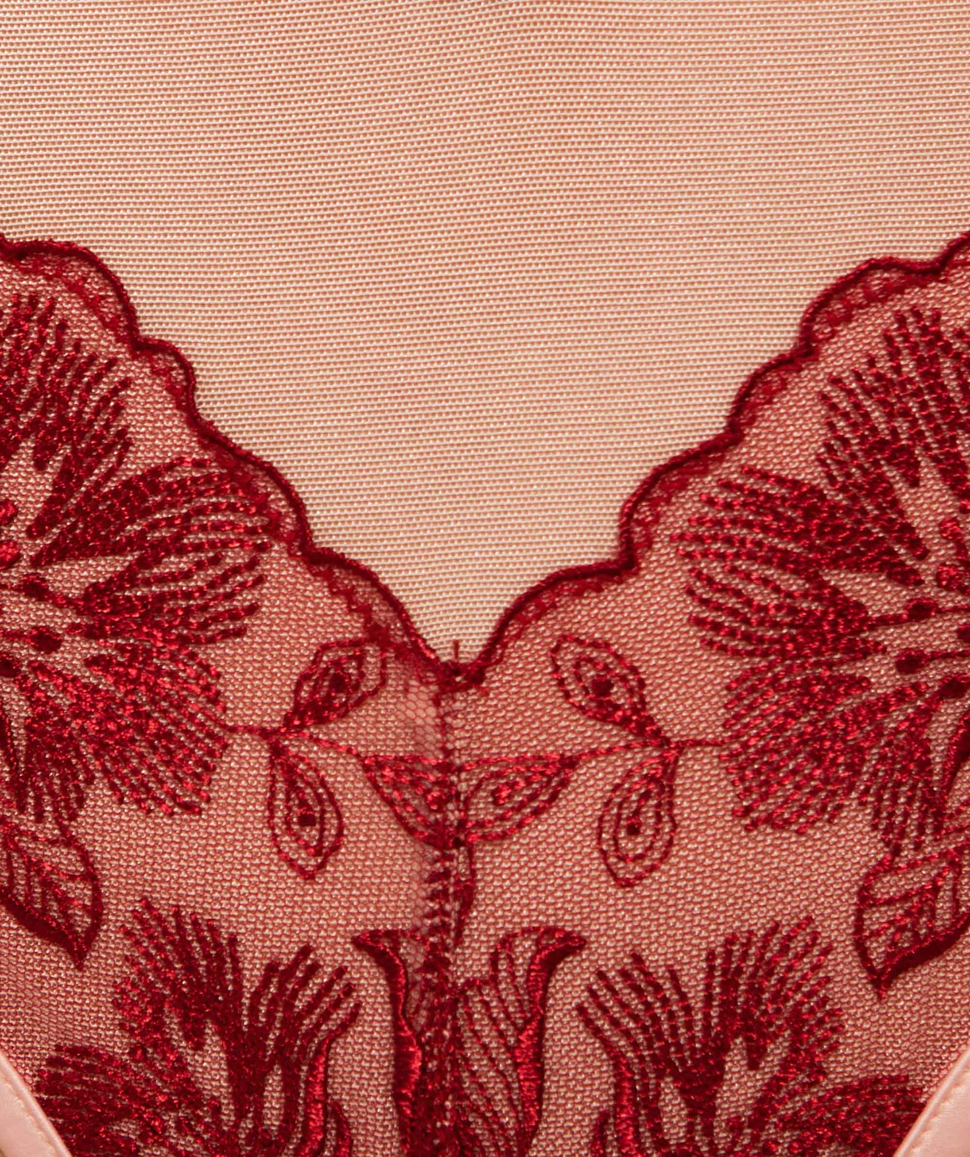 Enchanted Brescia Mini V Knicker - Pale Pink/Dark Red