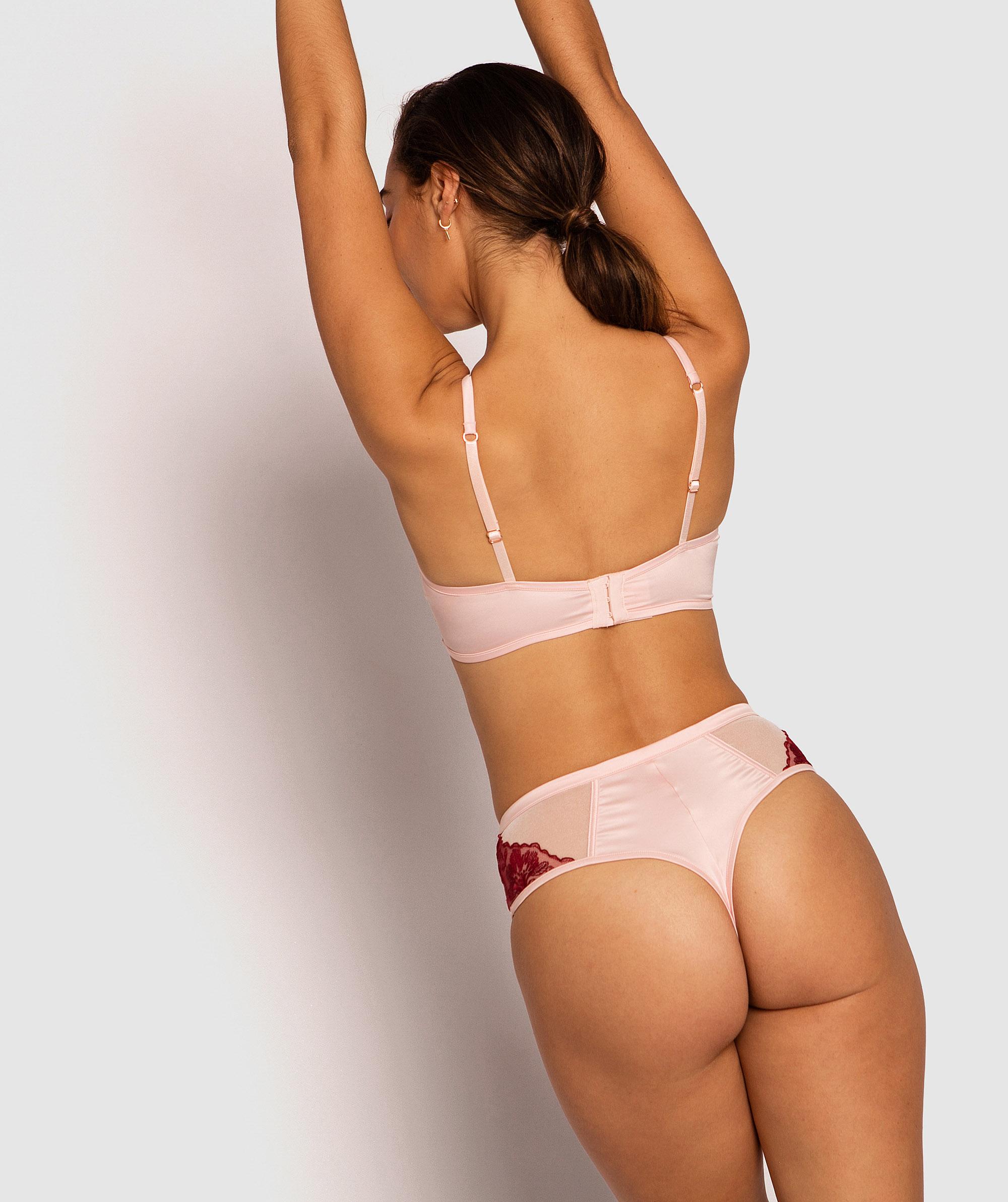 Enchanted Brescia High Waisted V String Knicker - Pale Pink/Dark Red