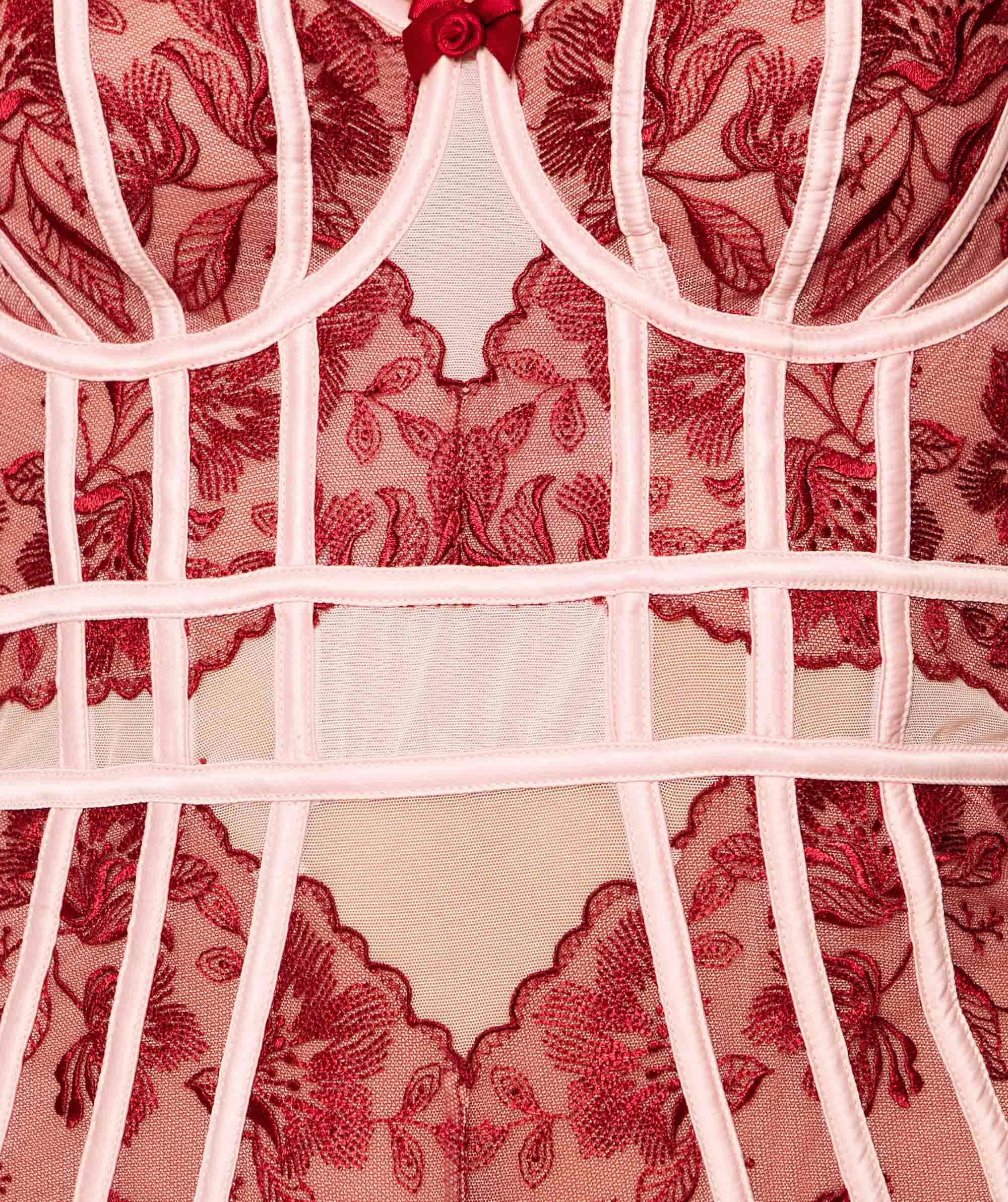 Enchanted Brescia Sleeveless Bodysuit - Pale Pink/Dark Red