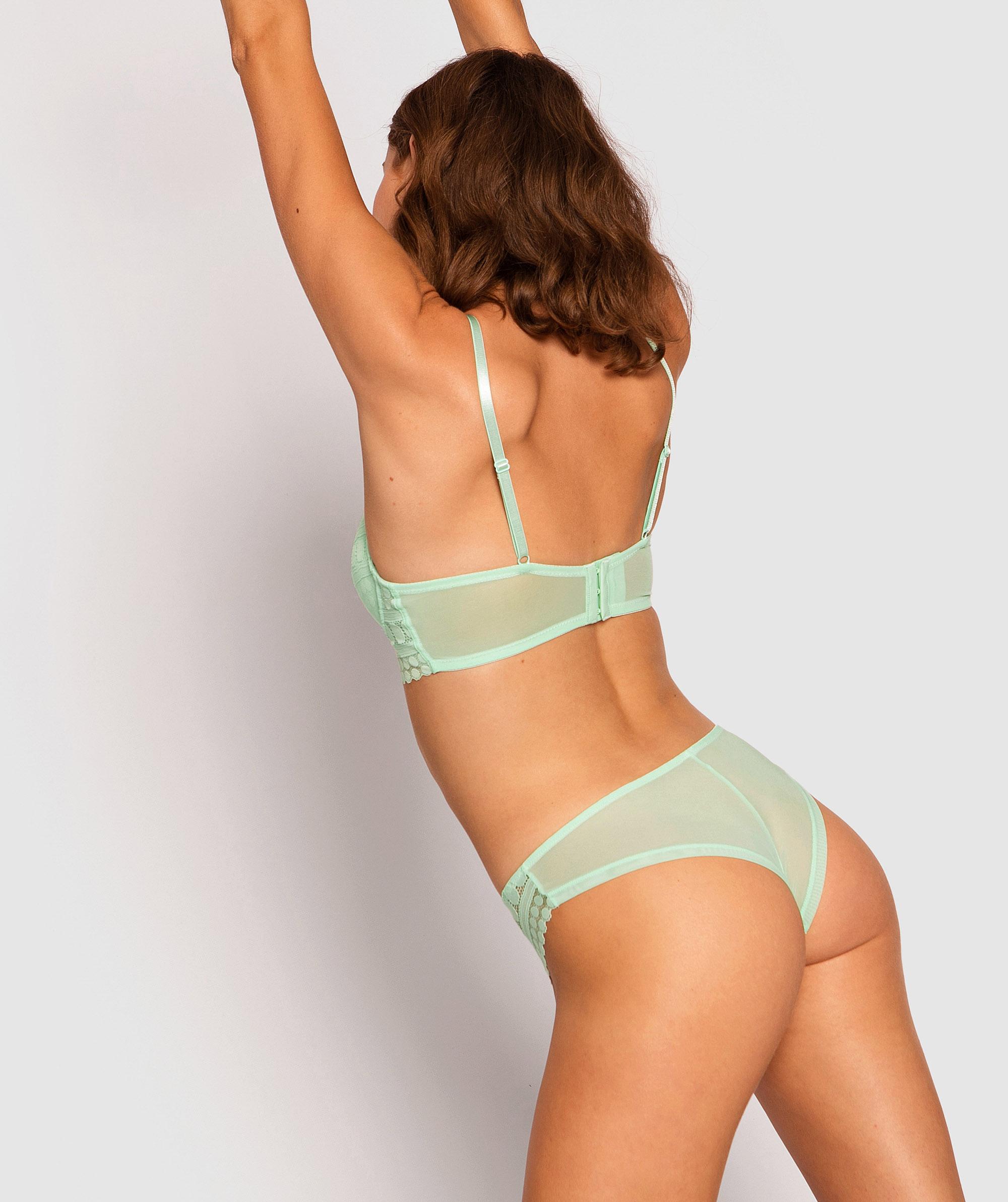Dotty Brazilian Knicker - Light Green