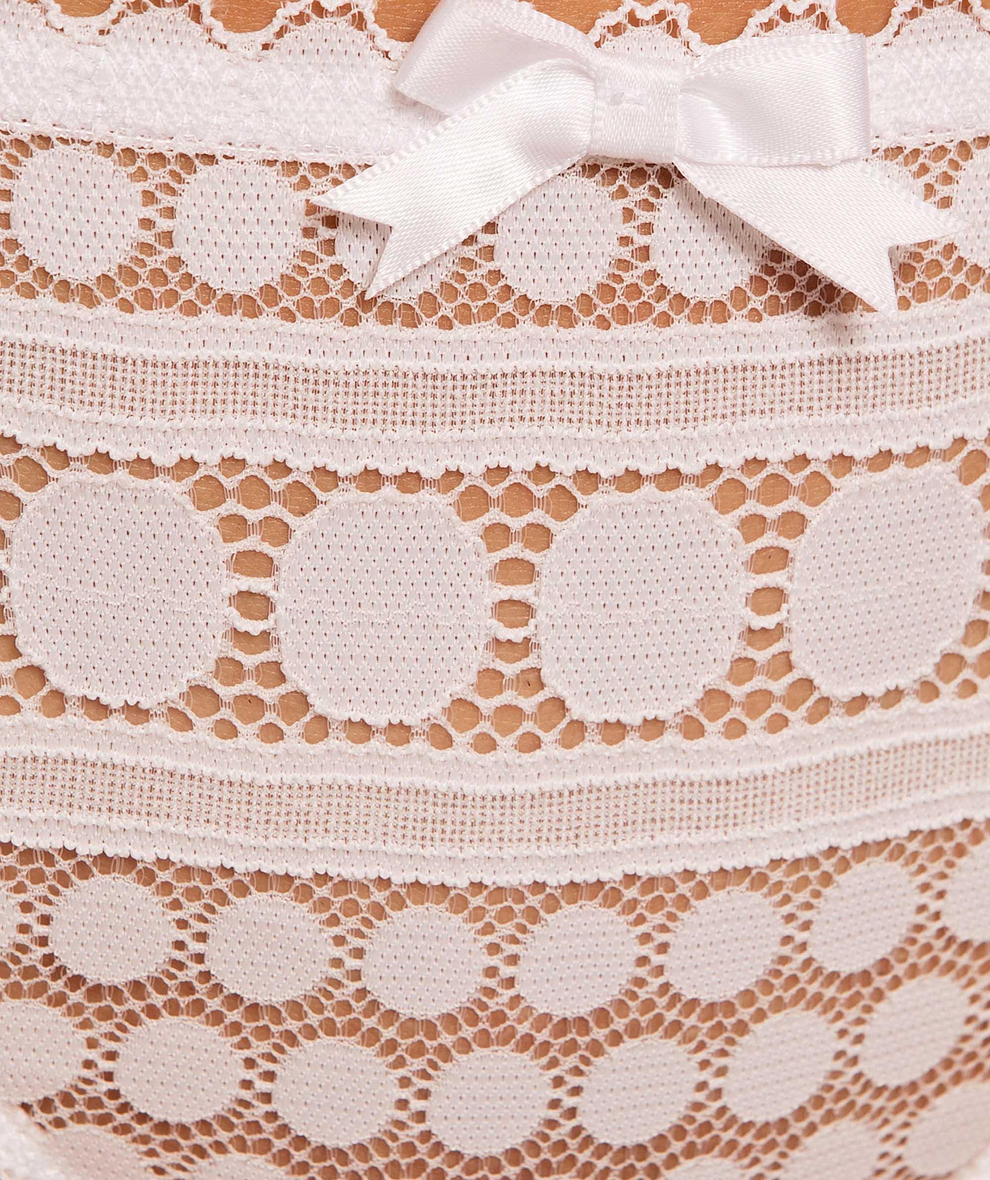 Dotty V-String Knicker - White
