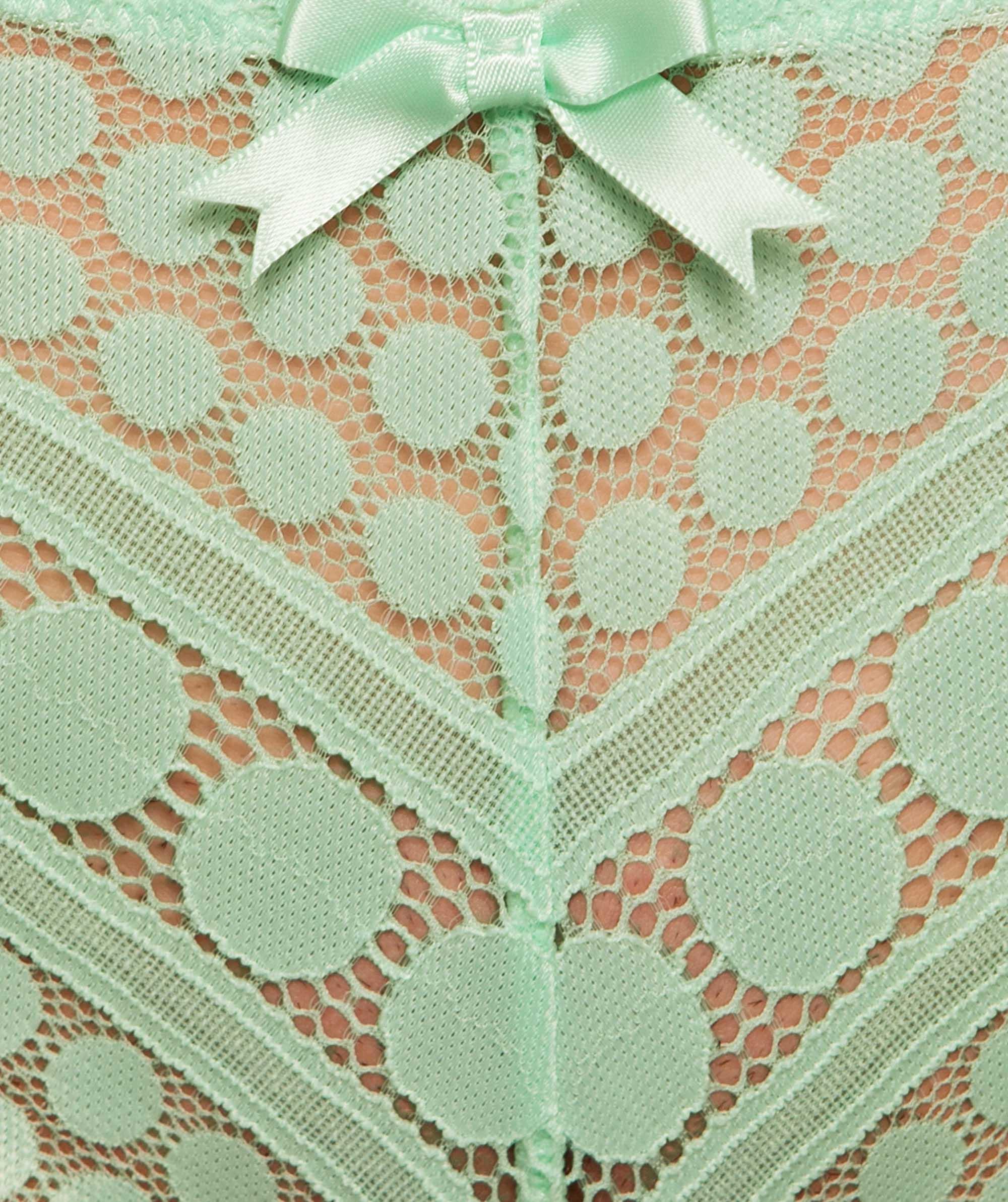 Dotty V-String Knicker - Light Green