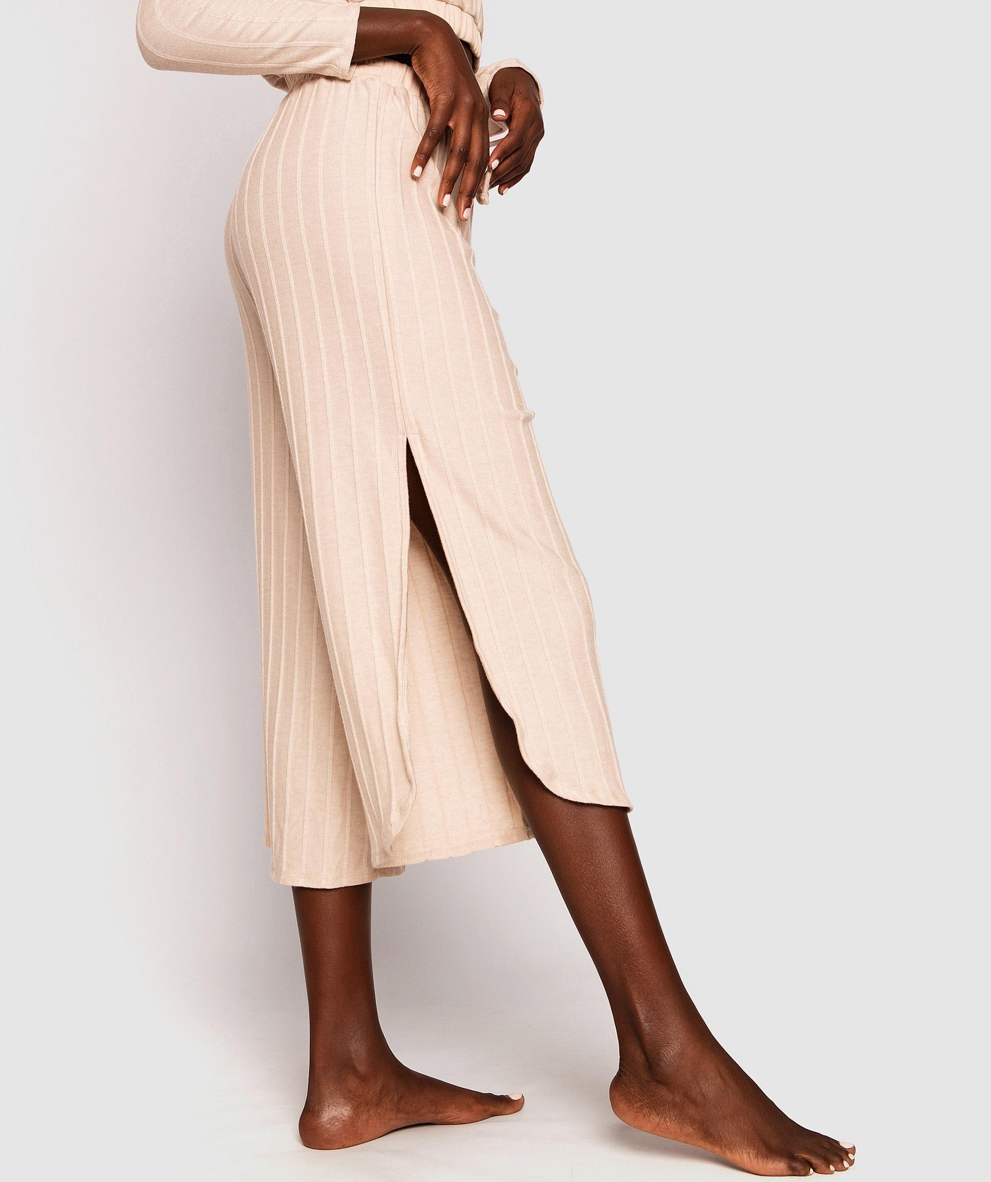 Harper Wide Leg Long Pants - Oatmeal