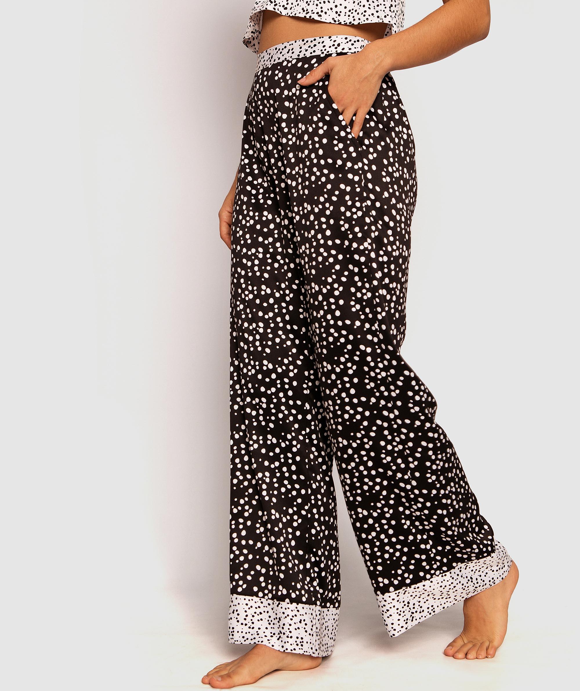 Rendezvous Long Wide Leg Pants - Spot Print