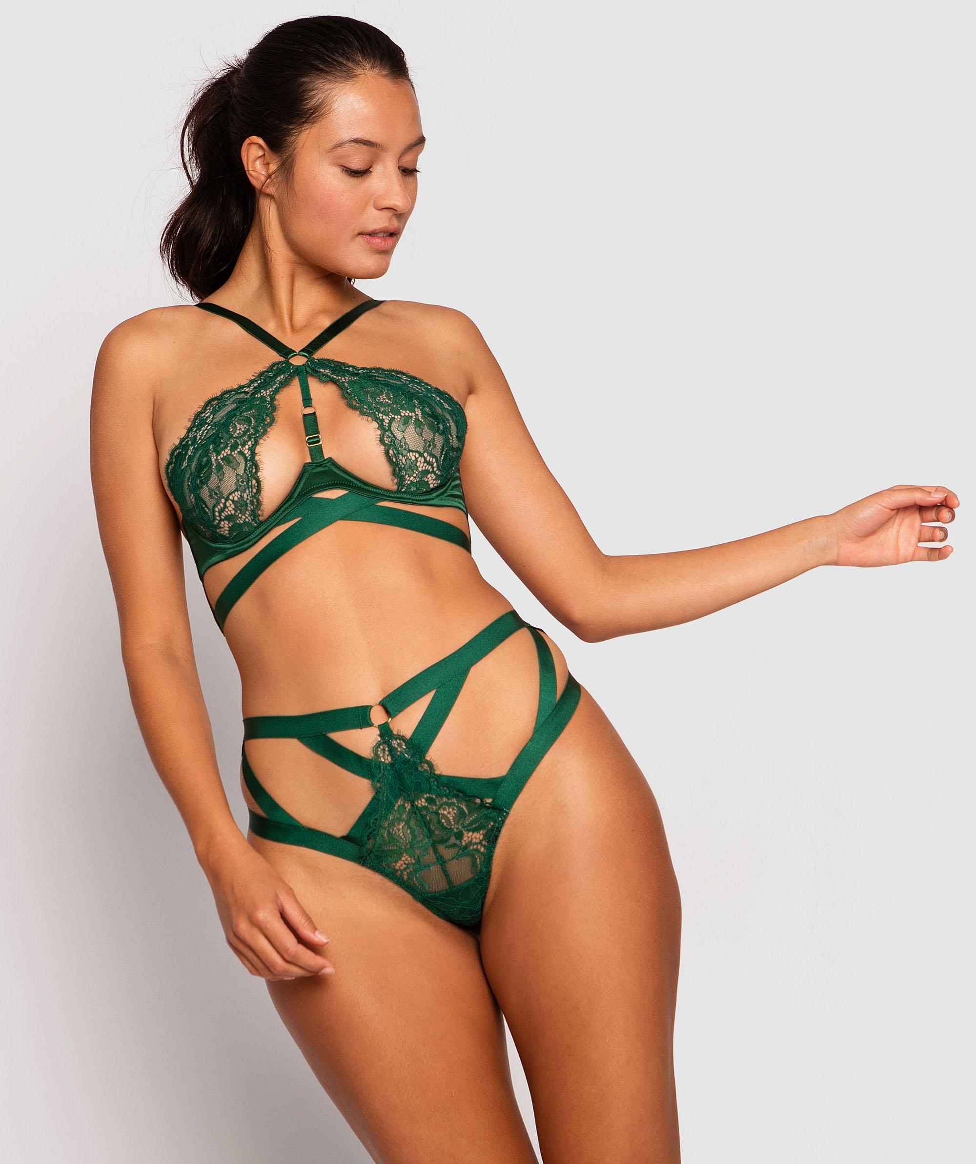 Shiloh High Waisted Brazilian Knicker - Dark Green