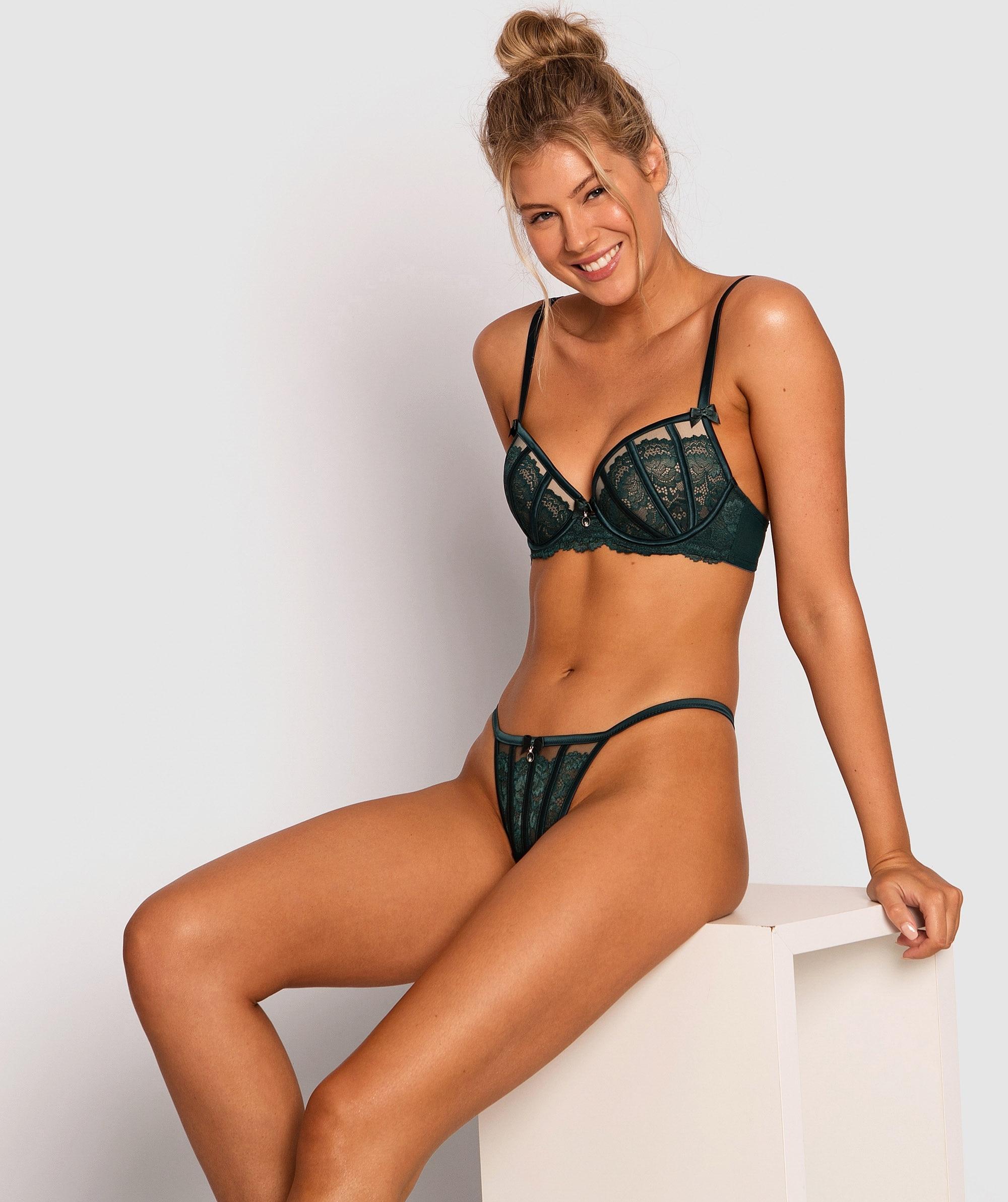 Bethany Balconette Push Up Bra - Teal/Nude