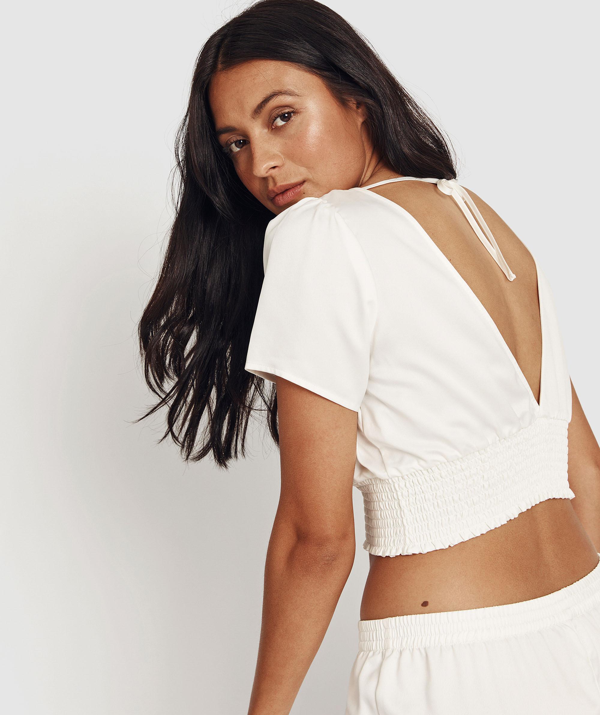 Evelyn Vintage Short Sleeve Top  - White