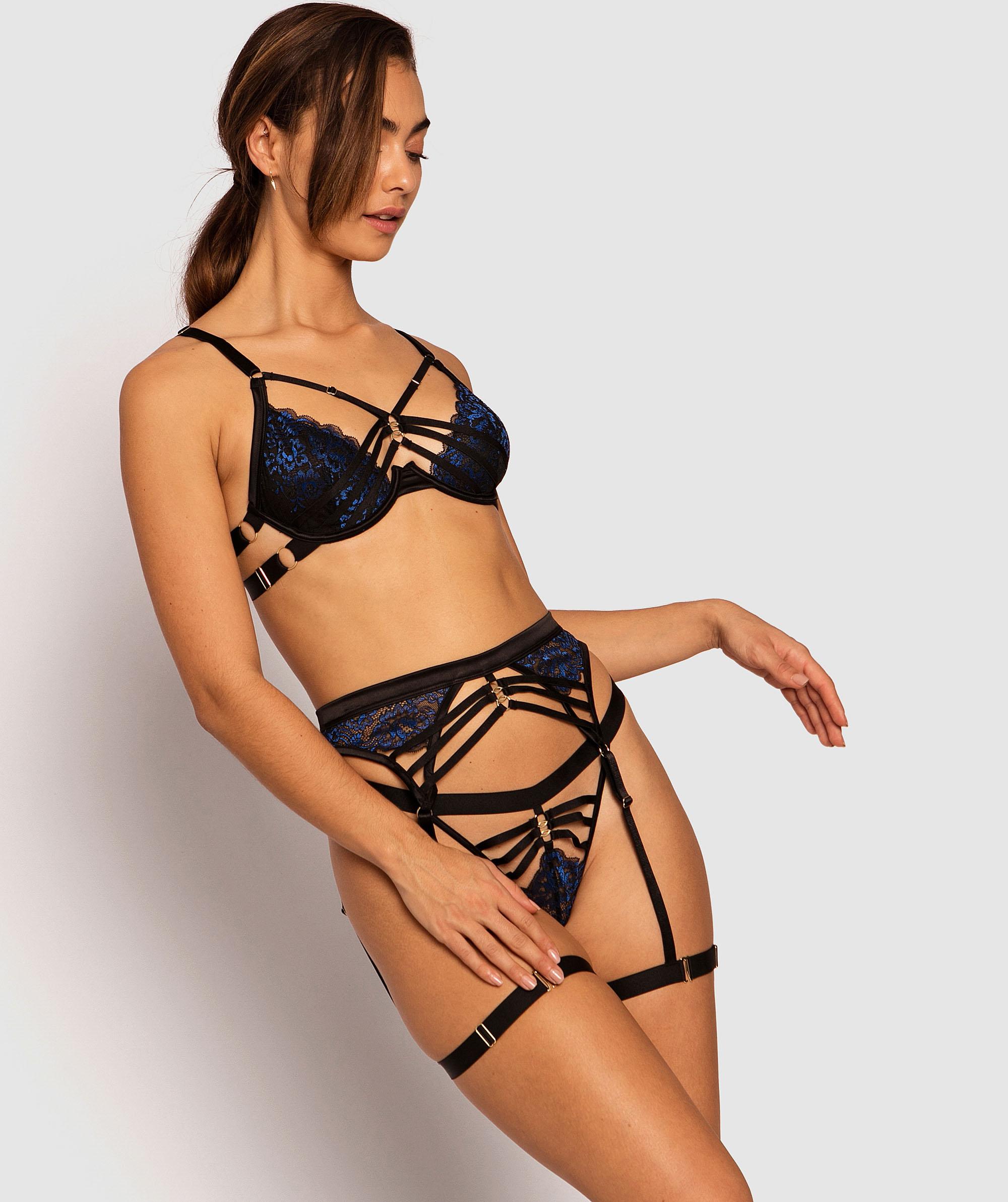 Art Deco Suspender - Black/Cobalt